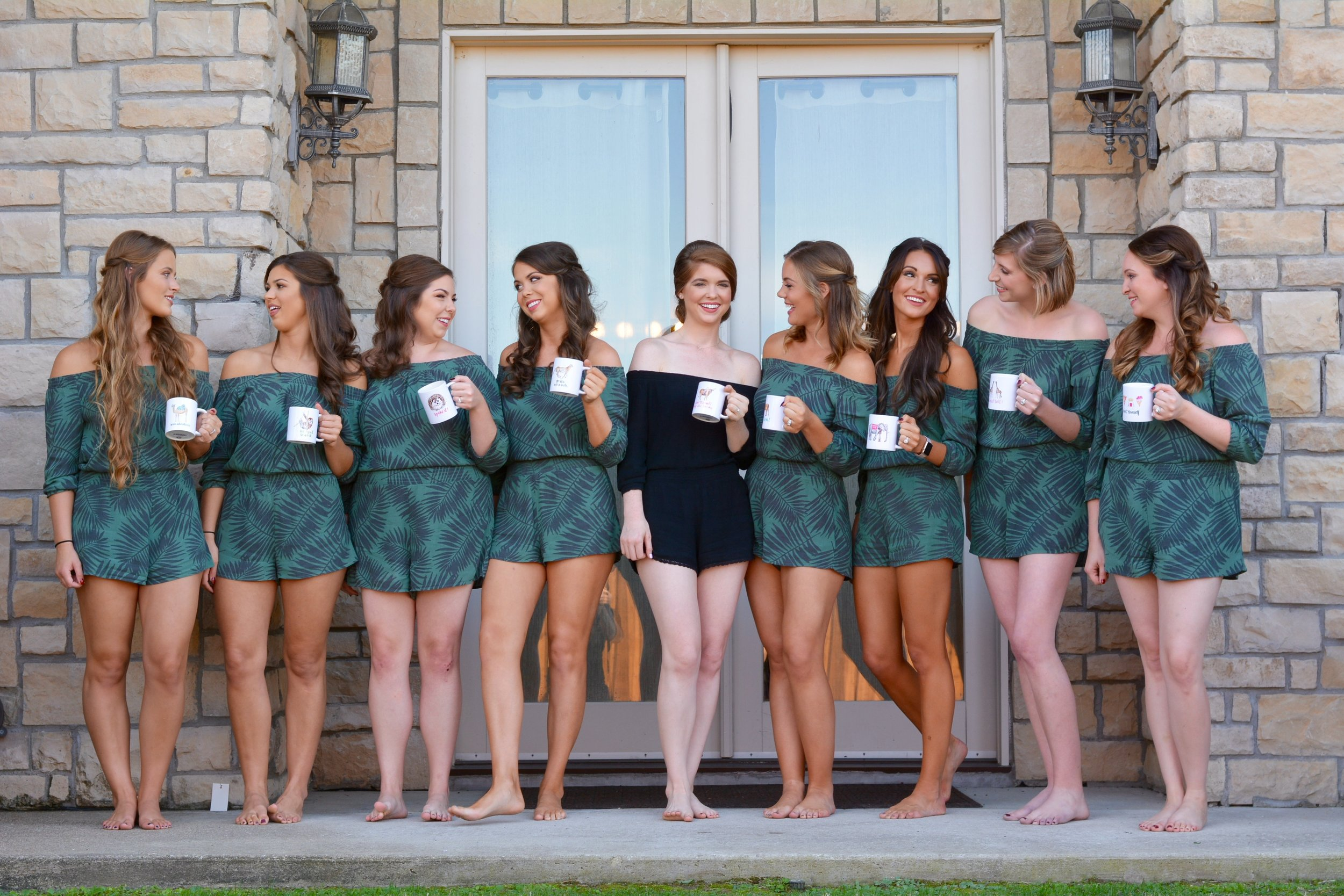 what to have your bridesmaids wear instead of robes, heidi lockhart somes photography, american eagle, palm print romper, wedding tips, bridesmaids, bridesmaid gifts, the castle at rockwall