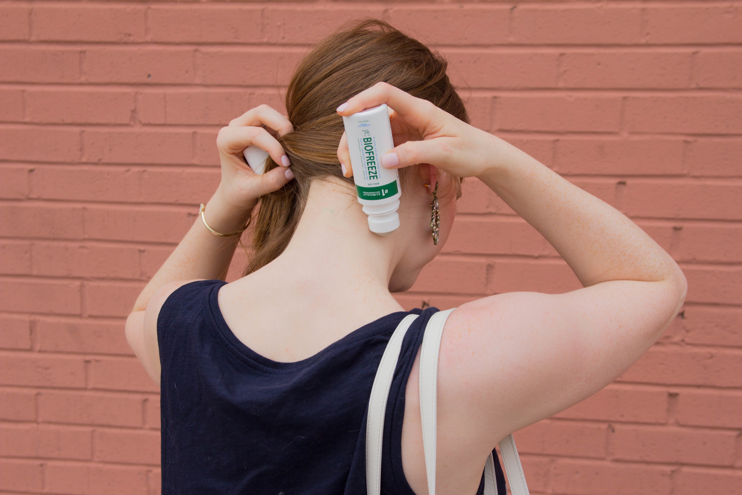 sponsored, my secret weapon for instant pain relief, biofreeze, headache relief, loft embroidered tank, tom ford tote, j crew high waisted crop, kendra scott elton cuff
