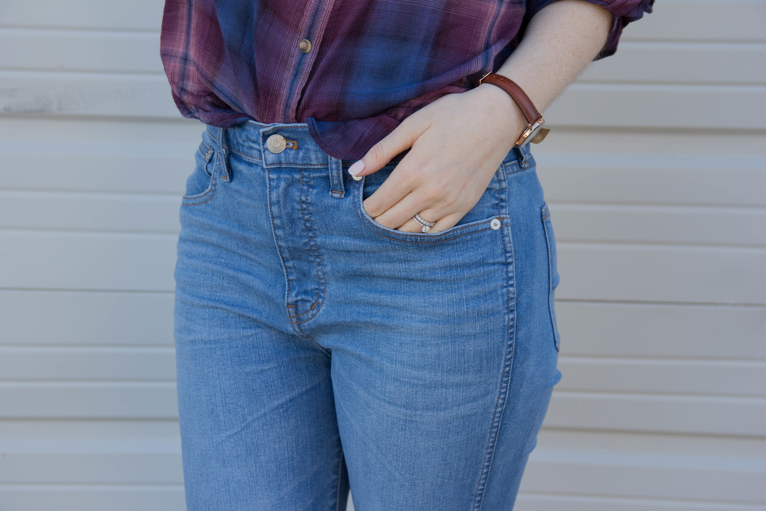 "madewell hank wash 10"" jeans, daniel wellington leather classic petite watch, dolce vita pacer slides, american eagle plaid top, light jeans, denim jackets, and other things I thought I'd never wear again"