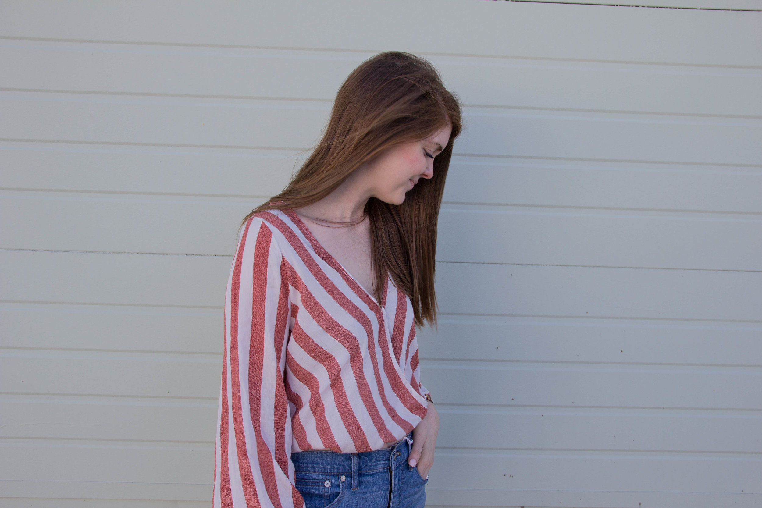 """shop tobi, striped bell sleeve blouse, madewell 10"""" hank wash jeans, dolce vita pacer slides, the evolution of personal style"""