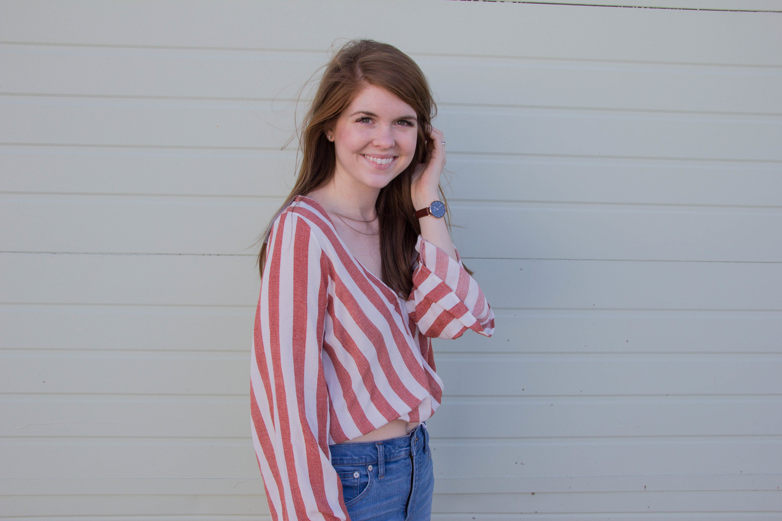 """shop tobi, striped bell sleeve blouse, madewell 10"""" hank wash jeans, dolce vita pacer slides, the evolution of personal style, daniel wellington petite classic"""