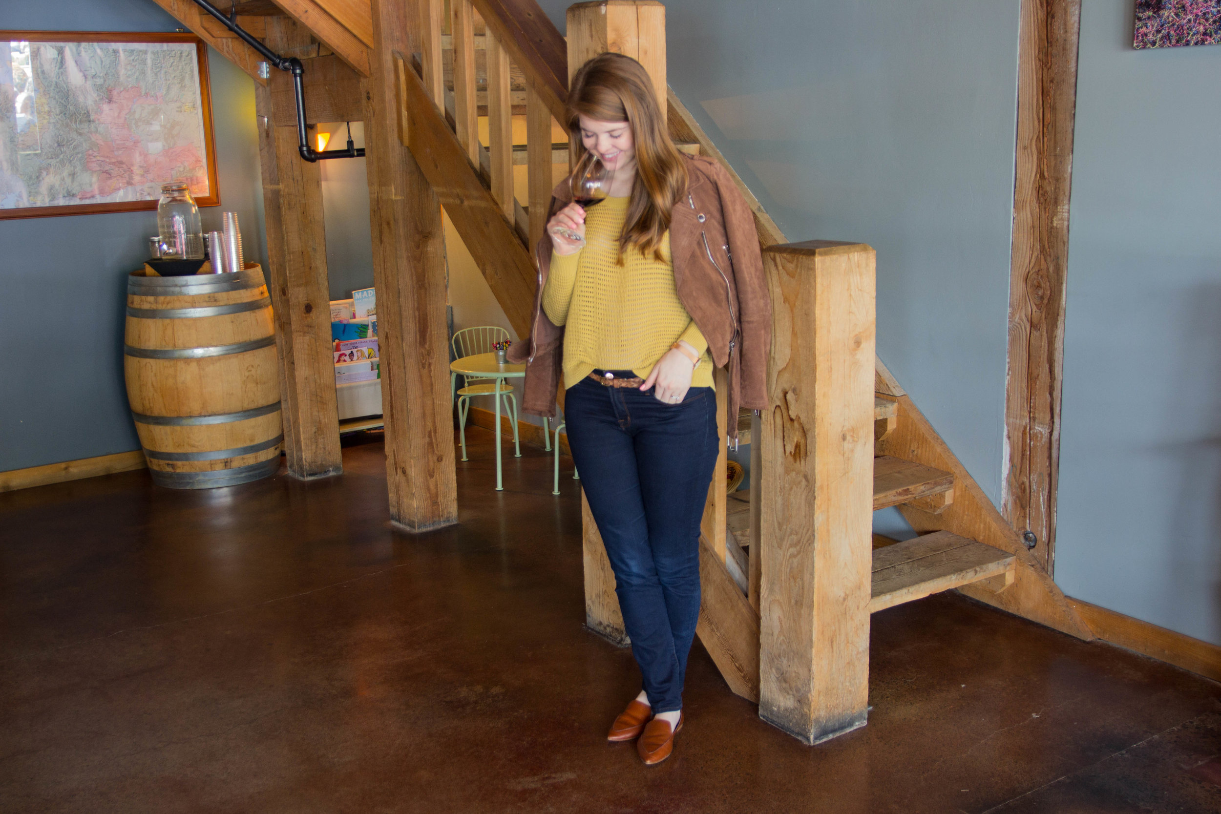 madewell sweater, blanknyc moto jacket, j brand jeans, wine tasting in woodinville, washington, seattle, wineries, purple cafe and wine bar,  mark ryan winery, sparkman cellars, elevation cellars, pondera winery, the grange cafe, duvall, c.c.'s 2.0 espresso and ice cream