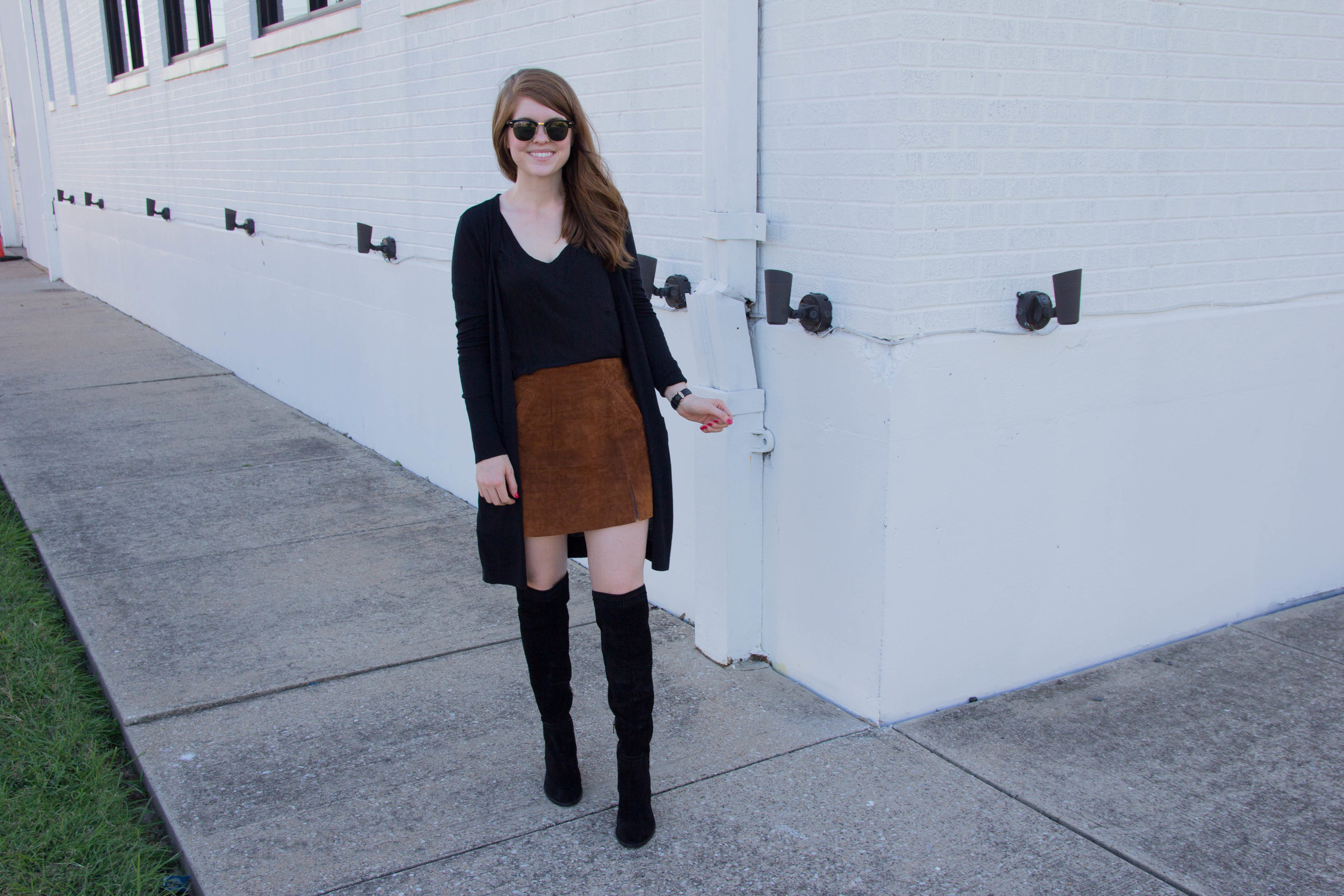 nordsrom anniversary sale 2017, best of shoes, vince camuto Madolee over the knee boots, blanknyc suede leather skirt, halogen long open front cardigan, dallas fashion blogger, lments of style