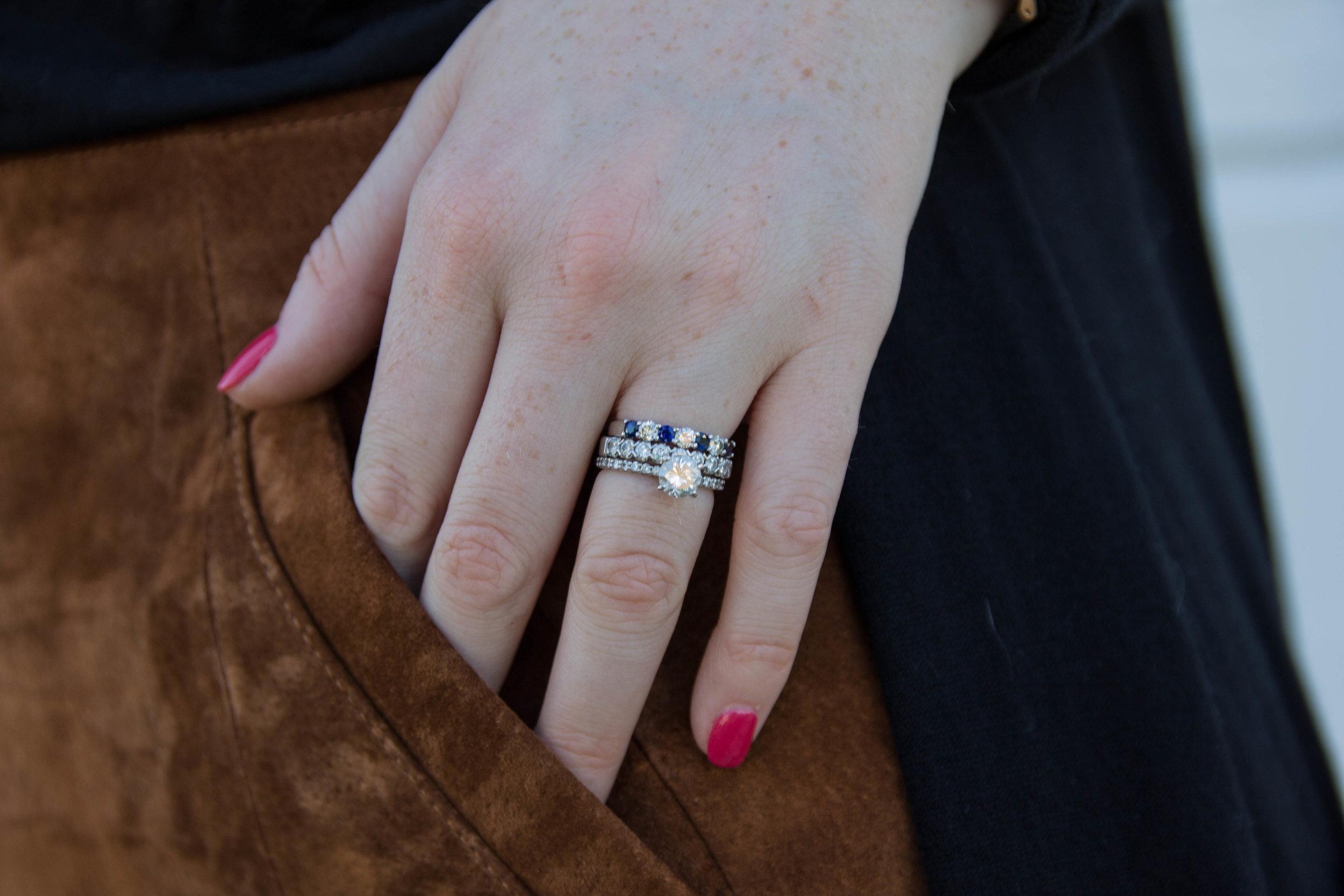 blanknyc suede miniskirt, custom by kathleen, dallas custom jeweler, custom jewelry designer in dfw, custom wedding rings