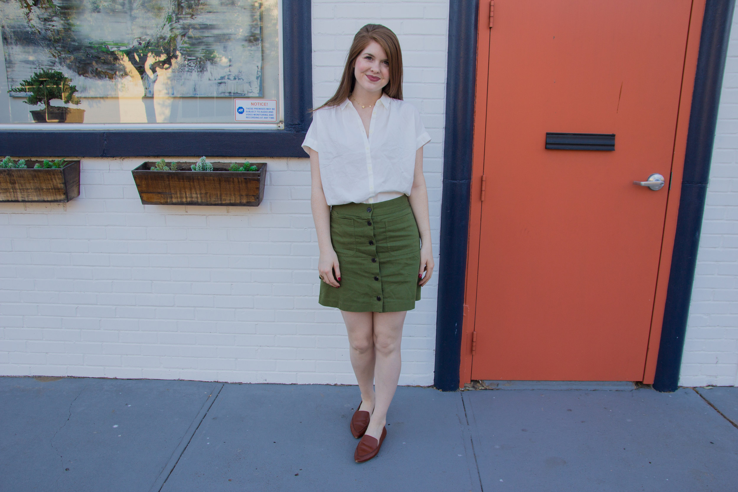 madewell central shirt in pure white, madewell station mini skirt, kendra scott olive long necklace in gold, lawless soft matte liquid lipstick in brad, madewell the frances loafer, the art of versatility, olive button up skirt 3 ways