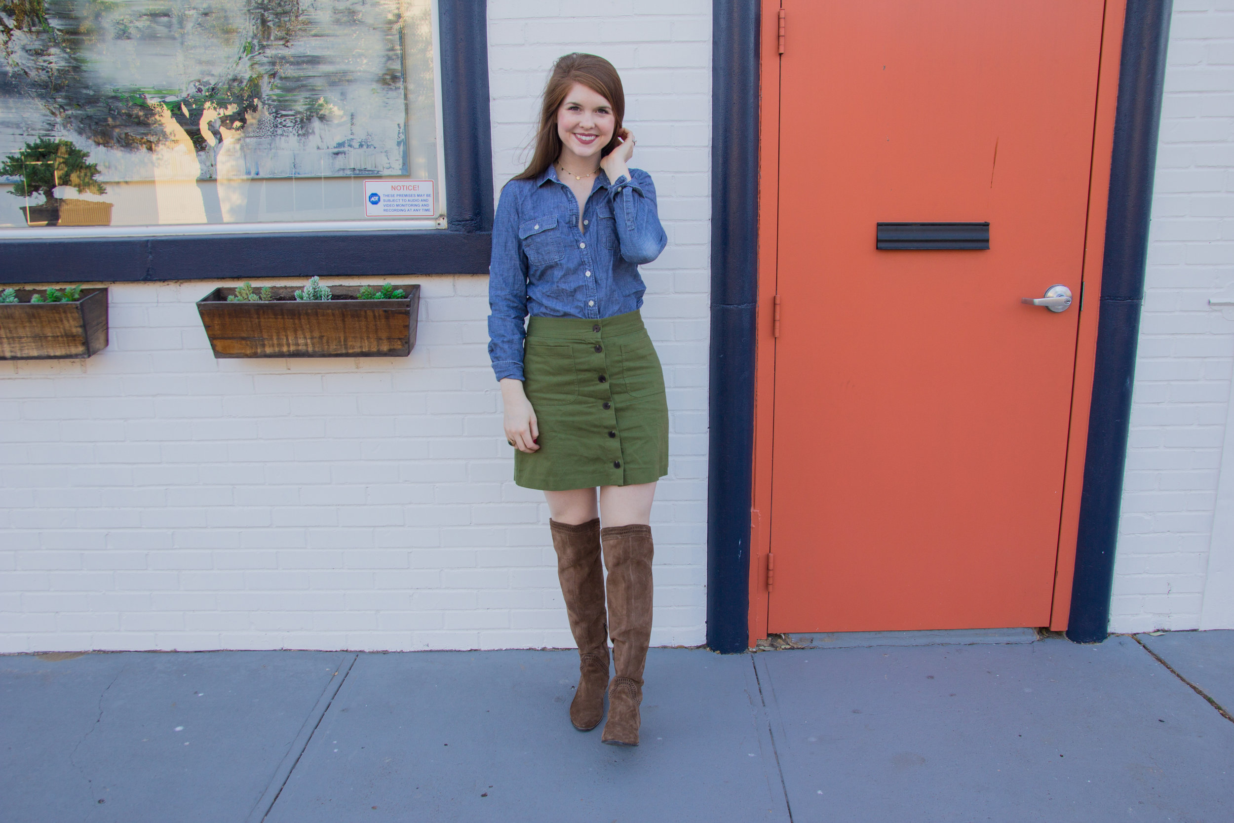 abercrombie and fitch chambray shirt, madewell station mini skirt, kendra scott olive long necklace in gold, lawless soft matte liquid lipstick in brad, vince camuto karinda over the knee boot, the art of versatility, olive button up skirt 3 ways