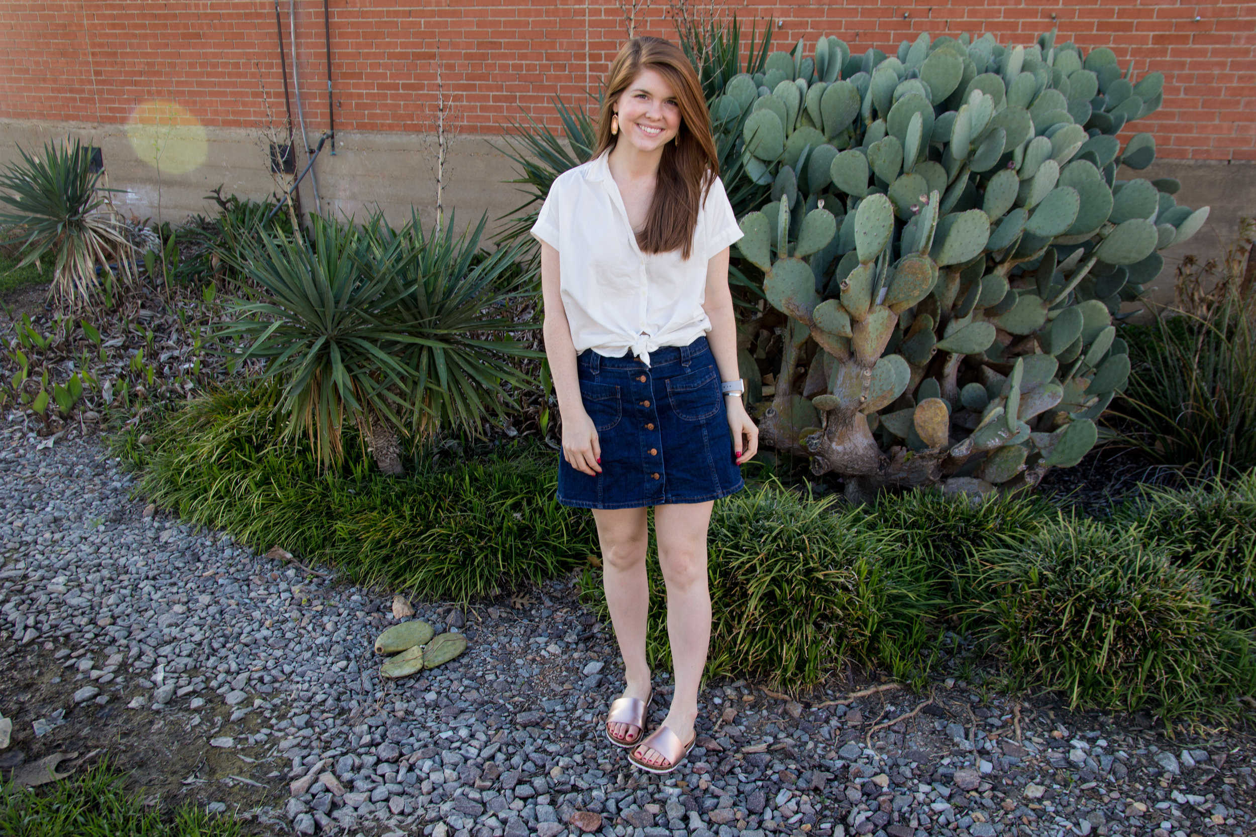 madewell central shirt in white, madewell denim skirt, american eagle rose gold slides, now trending slides sandals, shoe trends