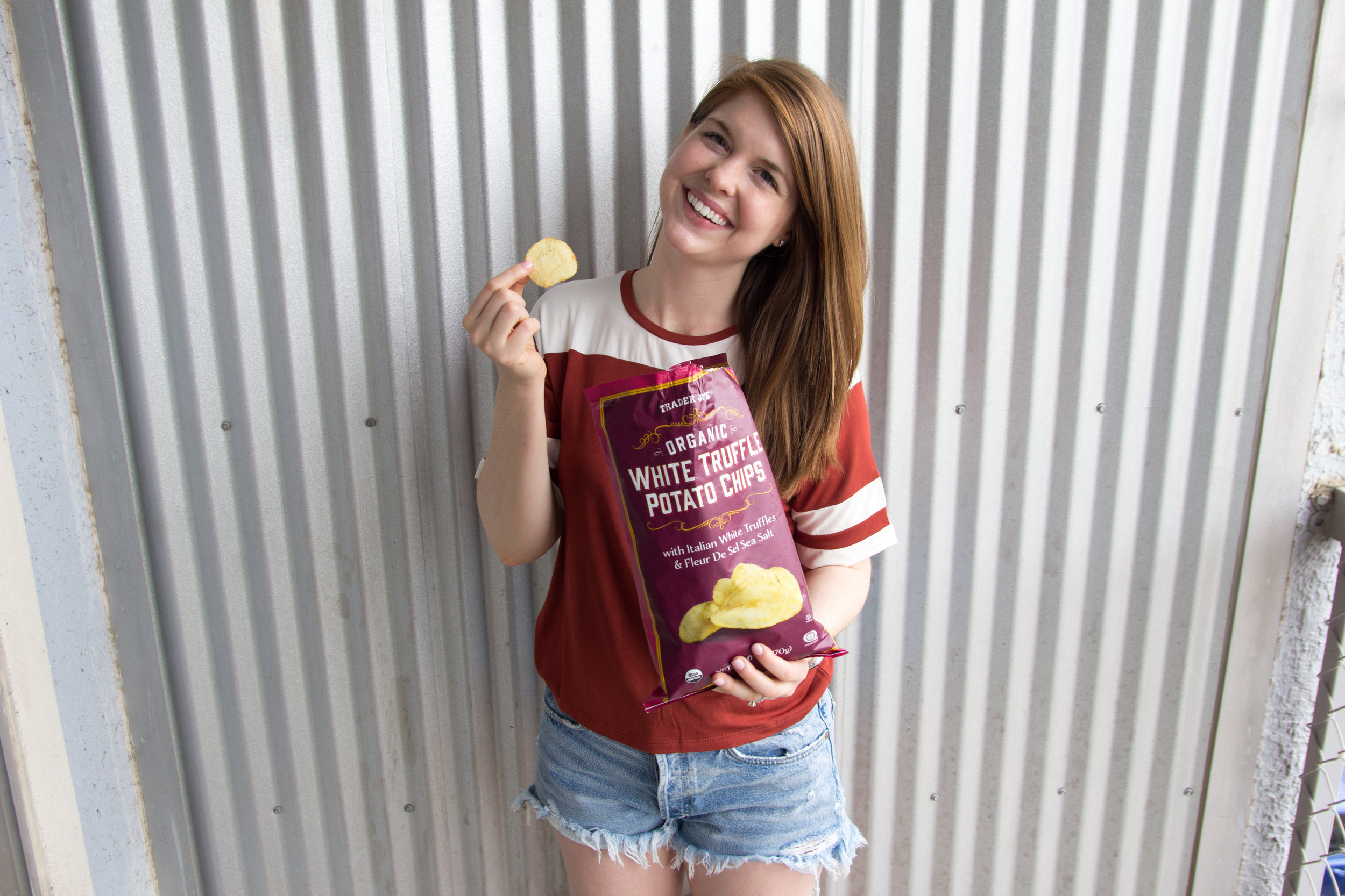 best things to buy from trader joe's, what to buy from trader joe's, favorite 13 items from Trader Joe's,  don't ask why knit t-shirt, agolde parker vintage shorts, white truffle potato chips