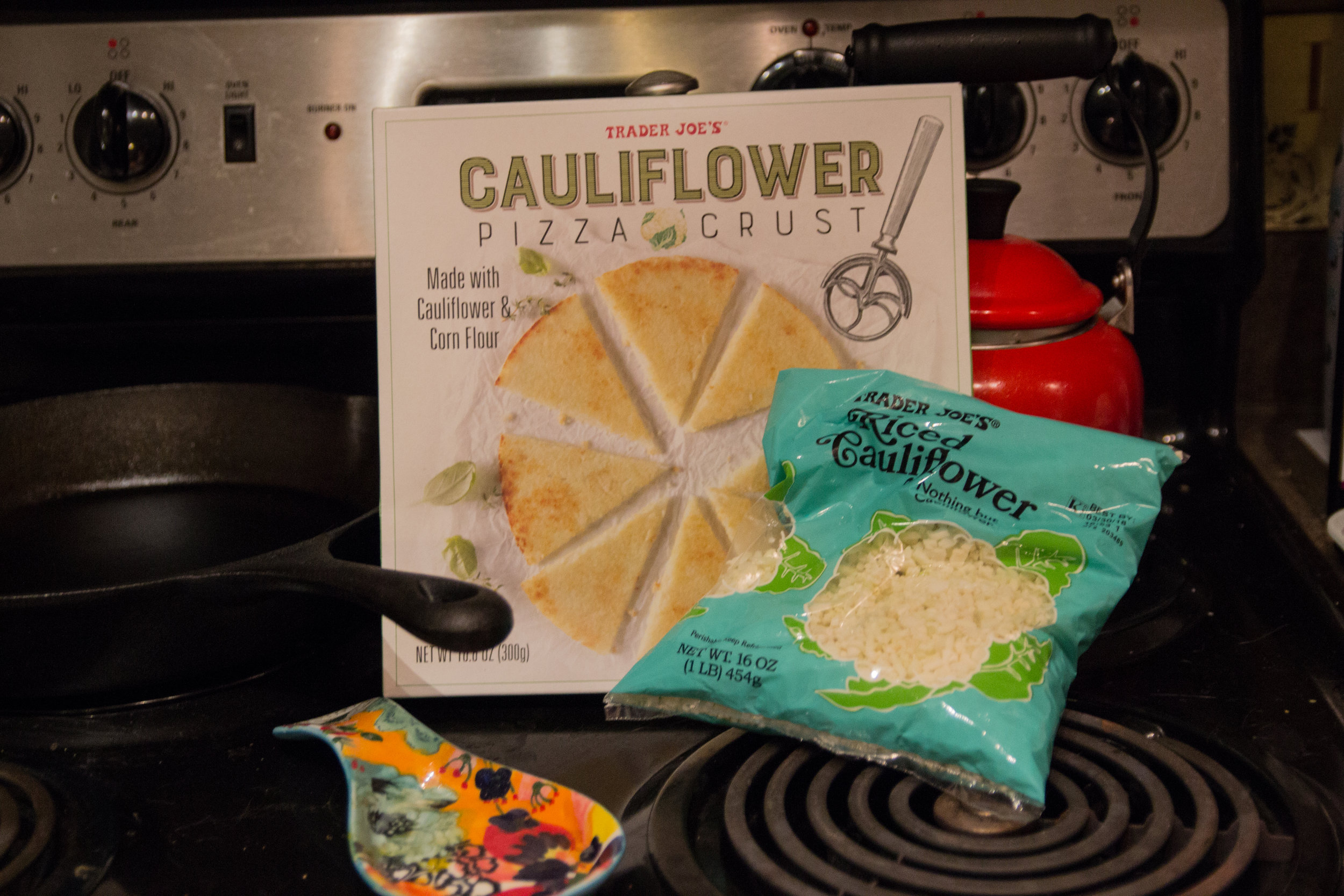 best things to buy from trader joe's, what to buy from trader joe's, favorite 13 items from Trader Joe's,  cauliflower pizza crust, riced cauliflower