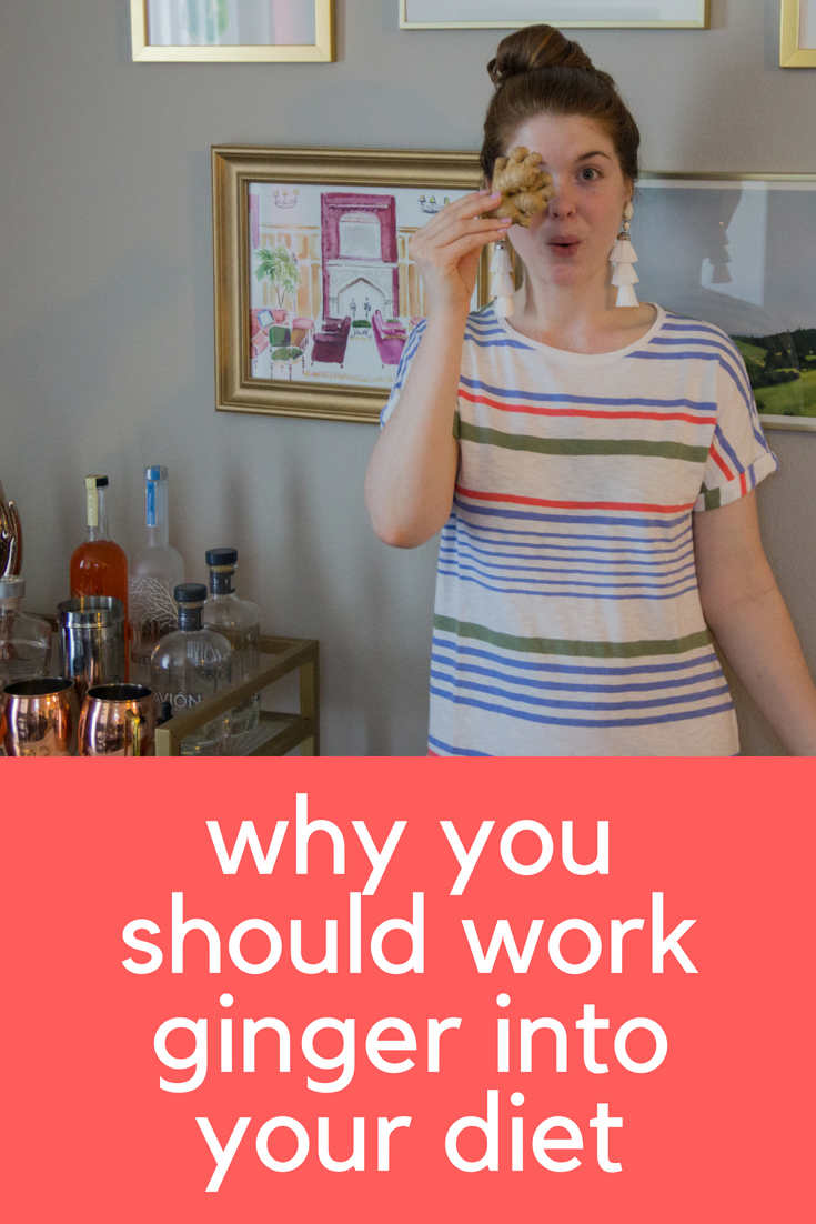 why you should work ginger into your diet, benefits of ginger, benefits of eating ginger, kendra scott diane earrings, lou and grey stripewash t-shirt dress