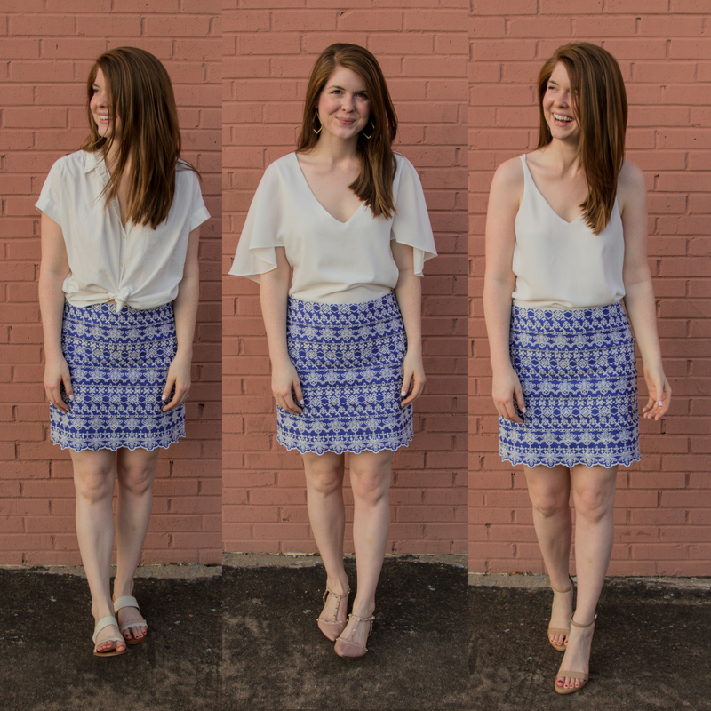 the art of versatility, embroidered skirt 3 ways, skirts long enough for work, blue and white skirt, how to style an embroidered skirt,