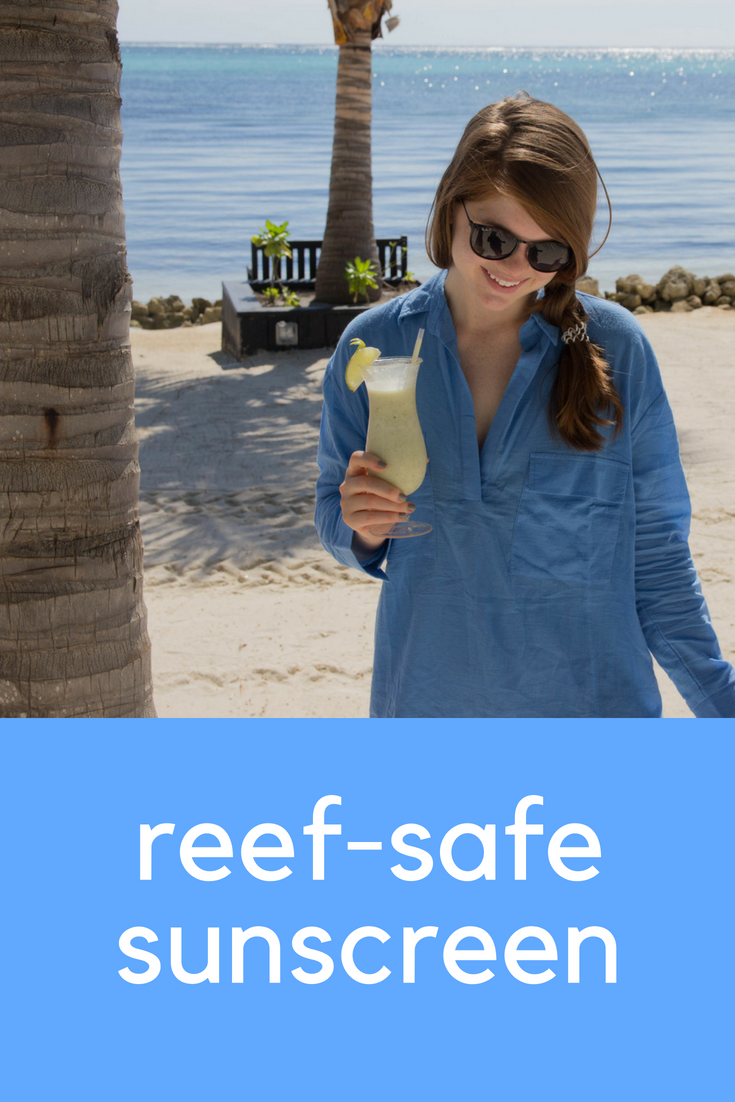 cruelty-free and nontoxic reef-safe sunscreen, sunscreen that doesn't kill coral reefs or marine life, suntegrity, babo botanicals, badger spf 30 unscented sunscreen cream, kokua sun care hawaiian spf 50, zulu and zephyr hydrandgea shirt dress, ray-ban erik sunglasses, aerie bikini top and bottom, belize, san pedro, sunscreen that is okay to use in hawaii