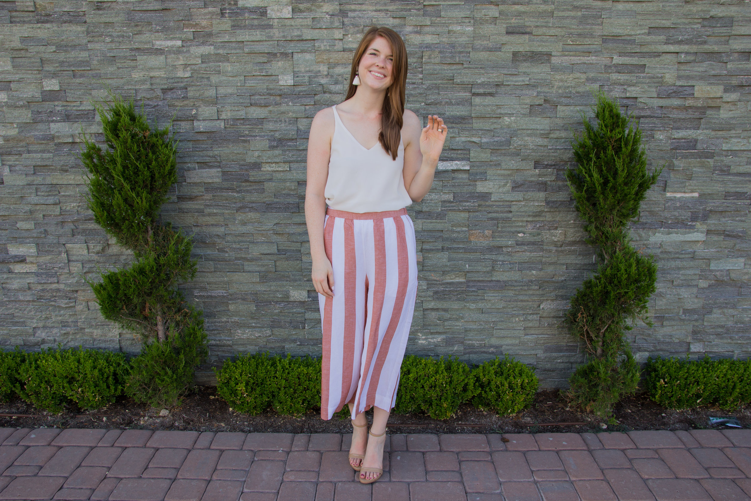madewell huston pull-on pants in evelyn stripe, kendra scott diane earrings, express downtown cami, sam edelman ariella sandals, the art of versatility, how to style striped crop pants