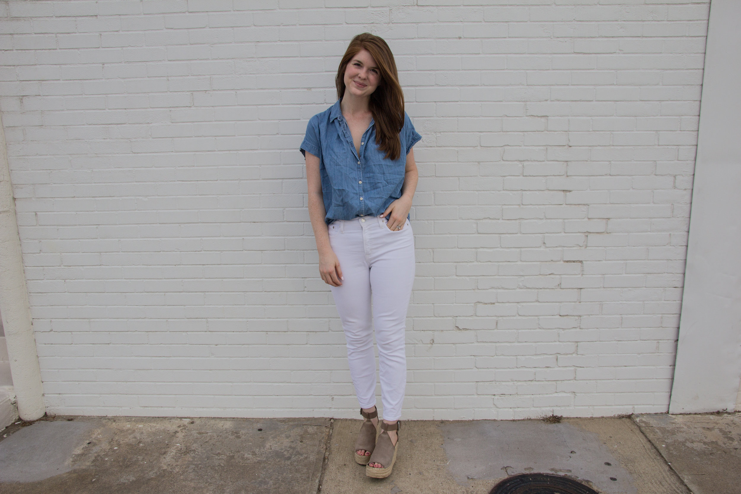 cruelty-free and nontoxic hairspray, clean haircare, green beauty, carina organics fast drying hairspray, josh rosenbrook firm hold hairspray, madewell central shirt, j crew lookout high rise jeans, marc fisher annie wedges