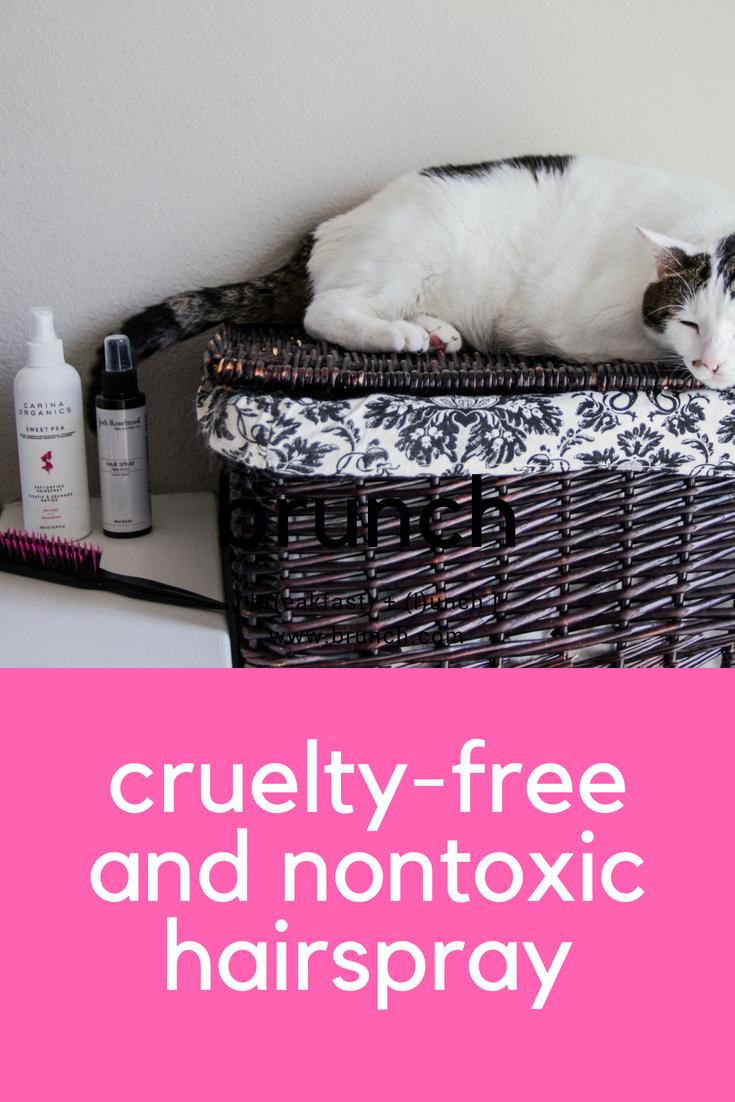 cruelty-free and nontoxic hairspray, clean haircare, green beauty, carina organics fast drying hairspray, josh rosenbrook firm hold hairspray