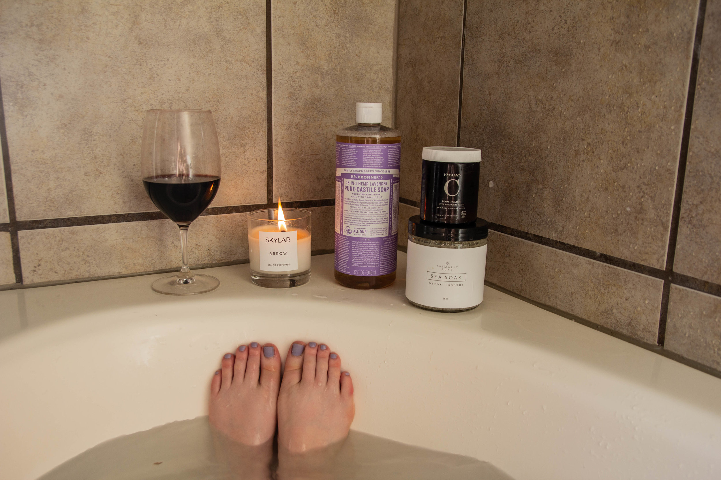 cruelty-free and nontoxic body wash, dr. bronner's pure castile soap lavender, dr. bronner's review, skylar body arrow candle, one love organics body polish, primally pure sea soak detox, tempranillo, riedel, bath time