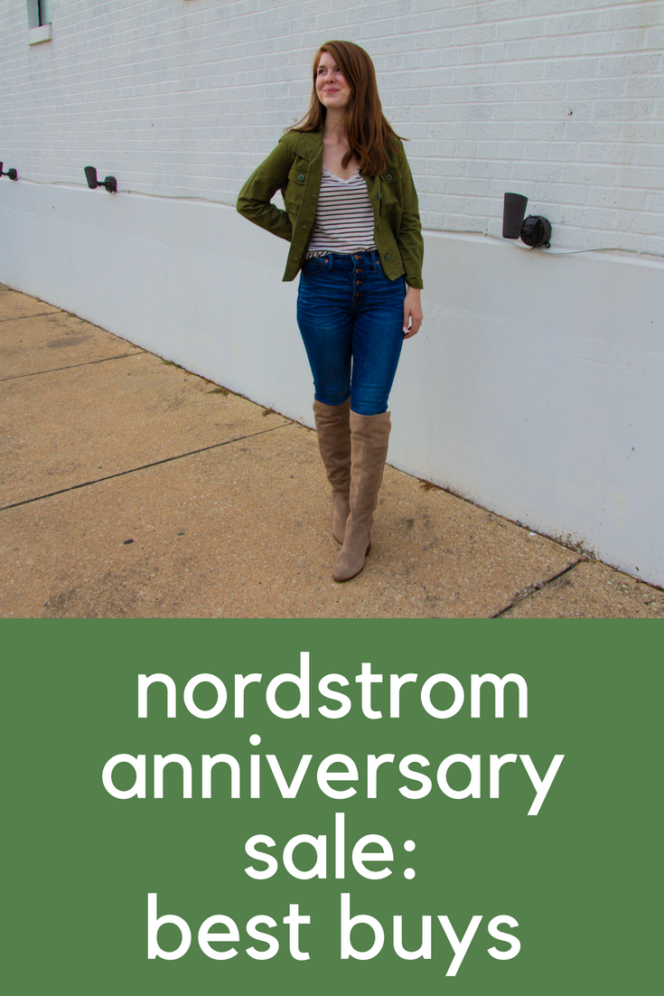 nordstrom anniversary sale basics, best buys from the n-sale, nordstrom sale favorites, madewell button front high waisted skinny jeans, madewell crop anorak army jacket, vince camuto kochelda suede over the knee boot, bp raw edge v-neck