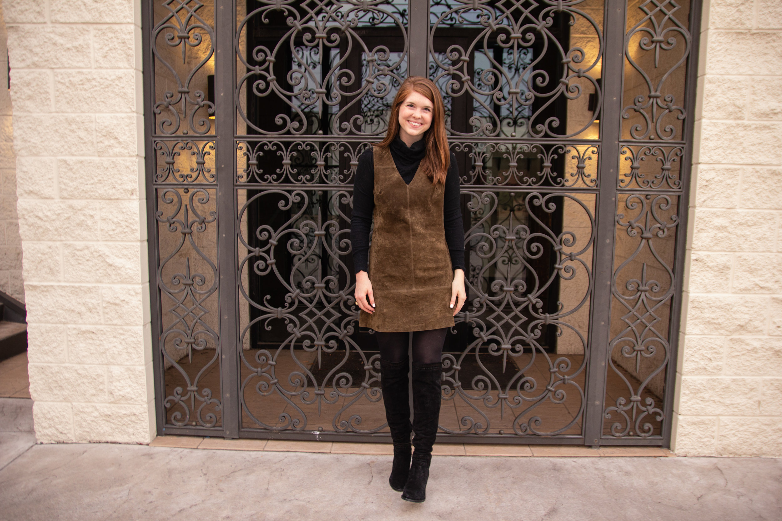 the art of versatility, nordstrom anniversary sale suede shift styled 2 ways, blanknyc suede shift, vince camuto kochelda suede  over the knee boots, nsale, lments of style. ellespann