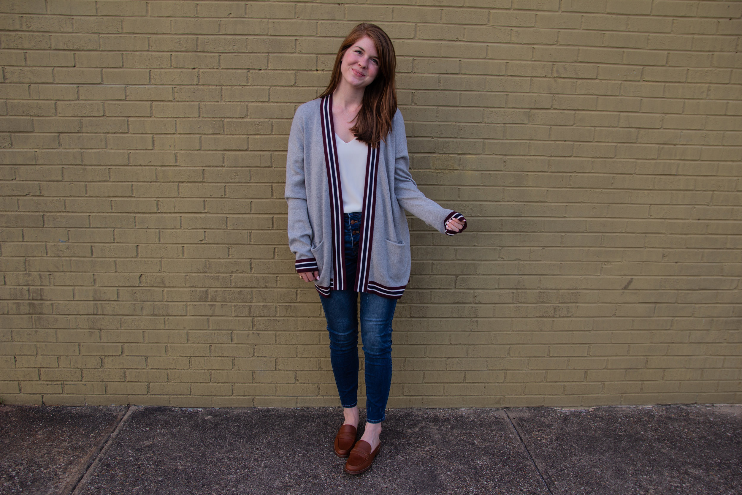 "best shoes from the nordstrom anniversary sale, madewell the elinor mule loafers, madewell 10"" high waist button front skinny jeans, white camisole, halogen varsity knit cardigan"