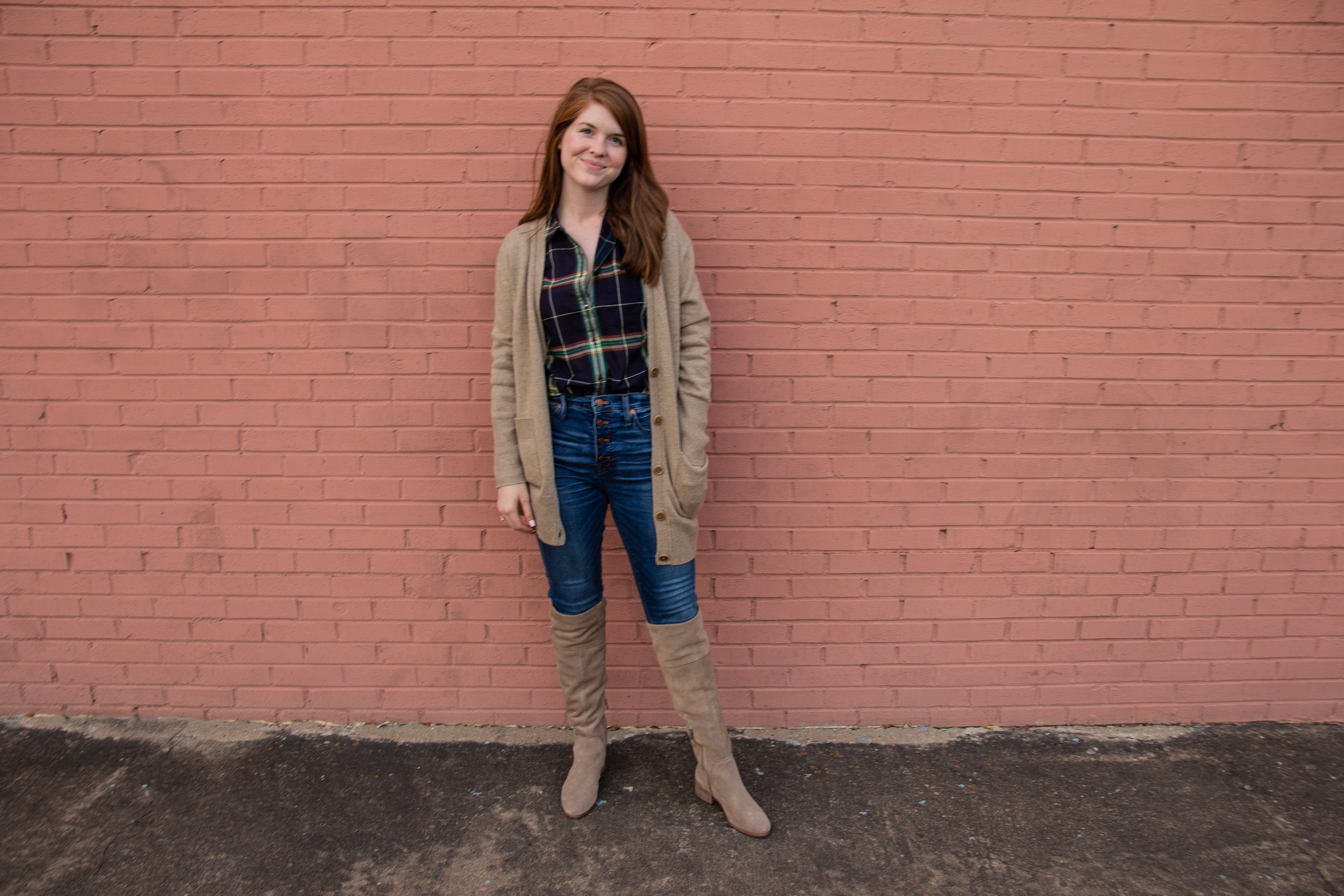 madewell button up jeans, madewell ex-boyfriend plaid shirt, ryder cardigan kochelda vince over the knee boots, n-sale, nordstrom, in my feelings, thoughts on disappointment, delay, dispassion, and disgruntlement