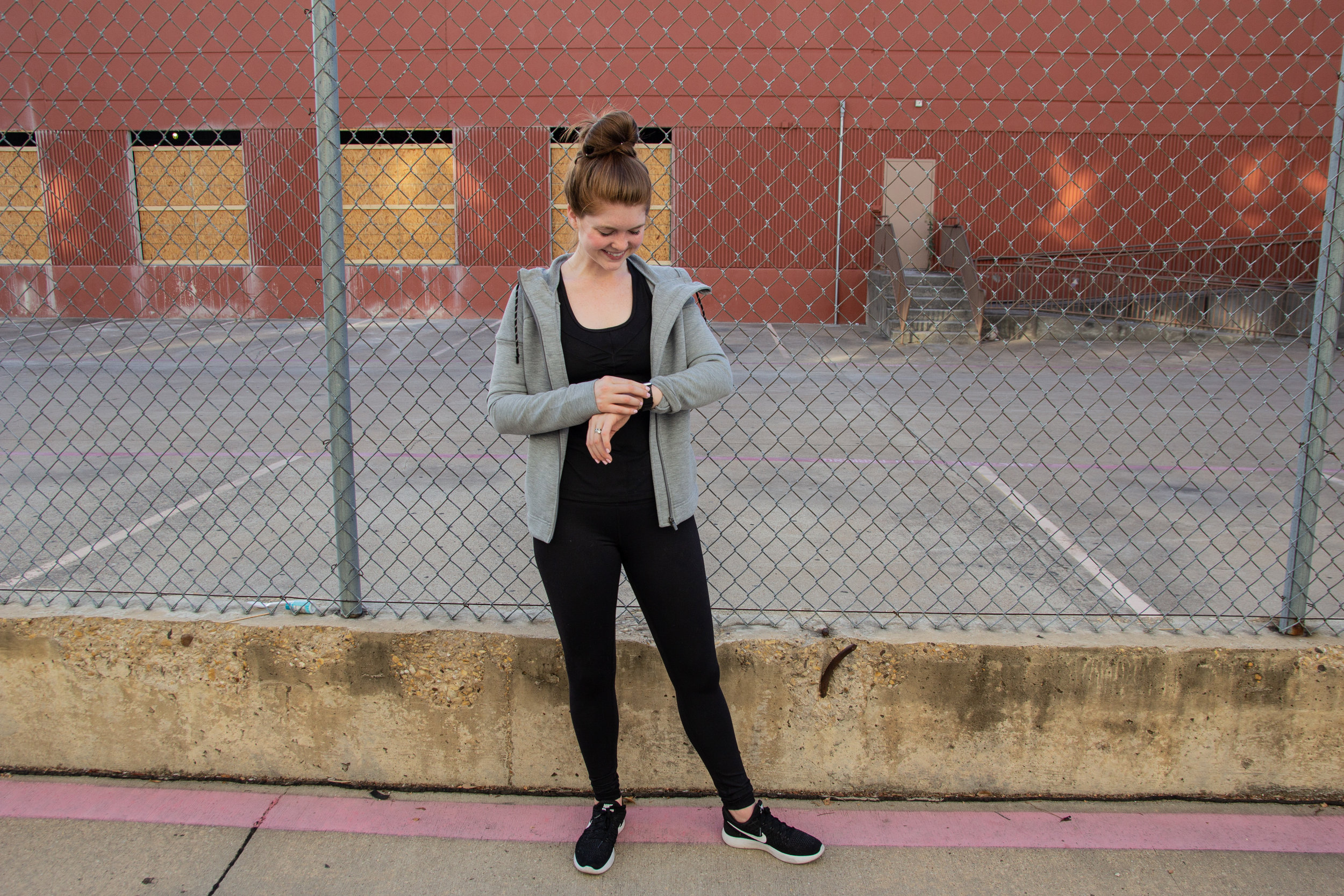 my love-hate relationship with fitness trackers, great dane puppy, sweaty betty cross train hoodie jacket, zella mira tank, zella live in light crop leggings, nike tennis shoes, nordstrom anniversary sale, fitness nsale