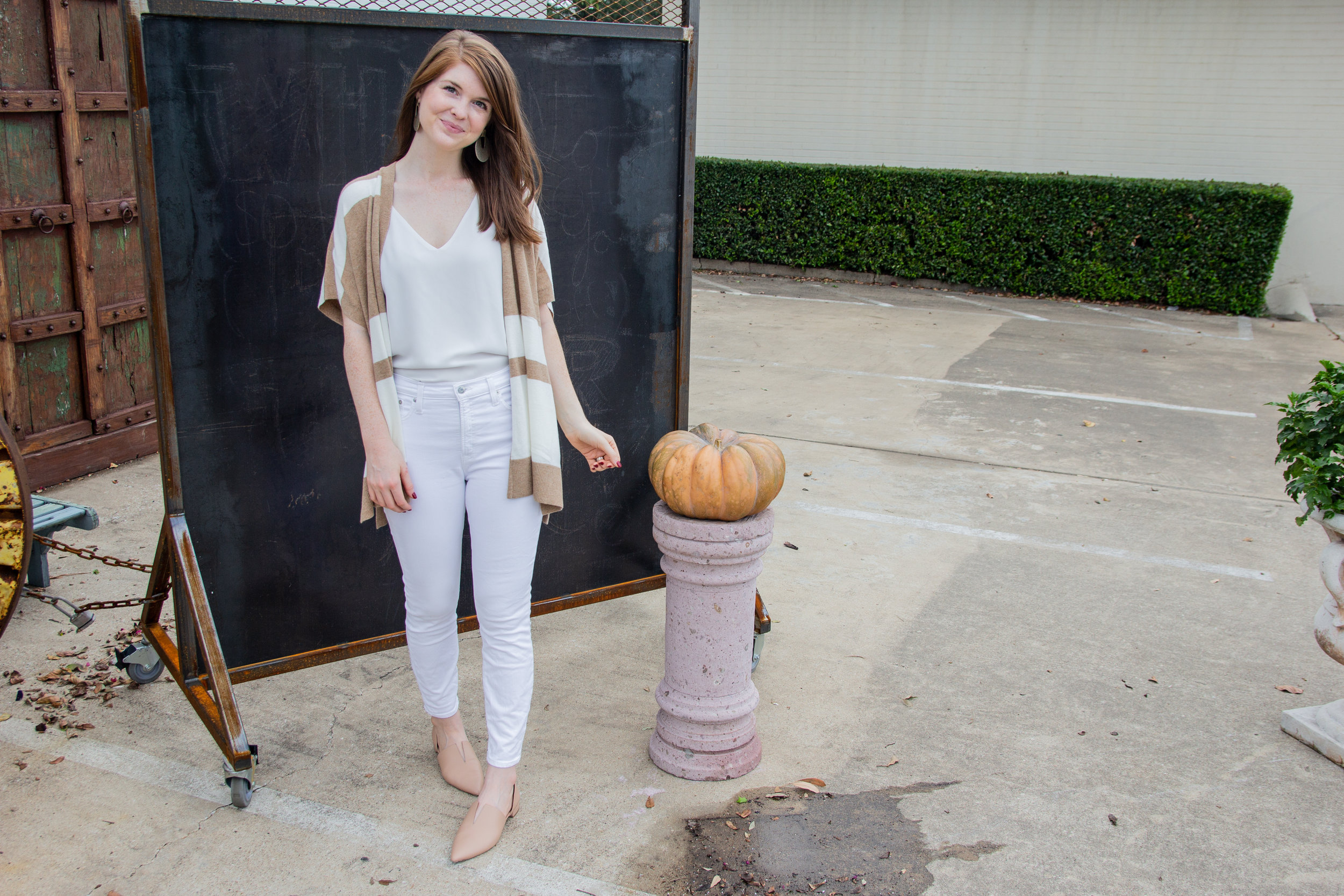 white after labor day,Loft Striped Poncho Cardigan  | J.Crew Camisole | J. Crew White Jeans | Kendra Scott Diane Earrings | Vince Darlington Flats, fall style inspiration