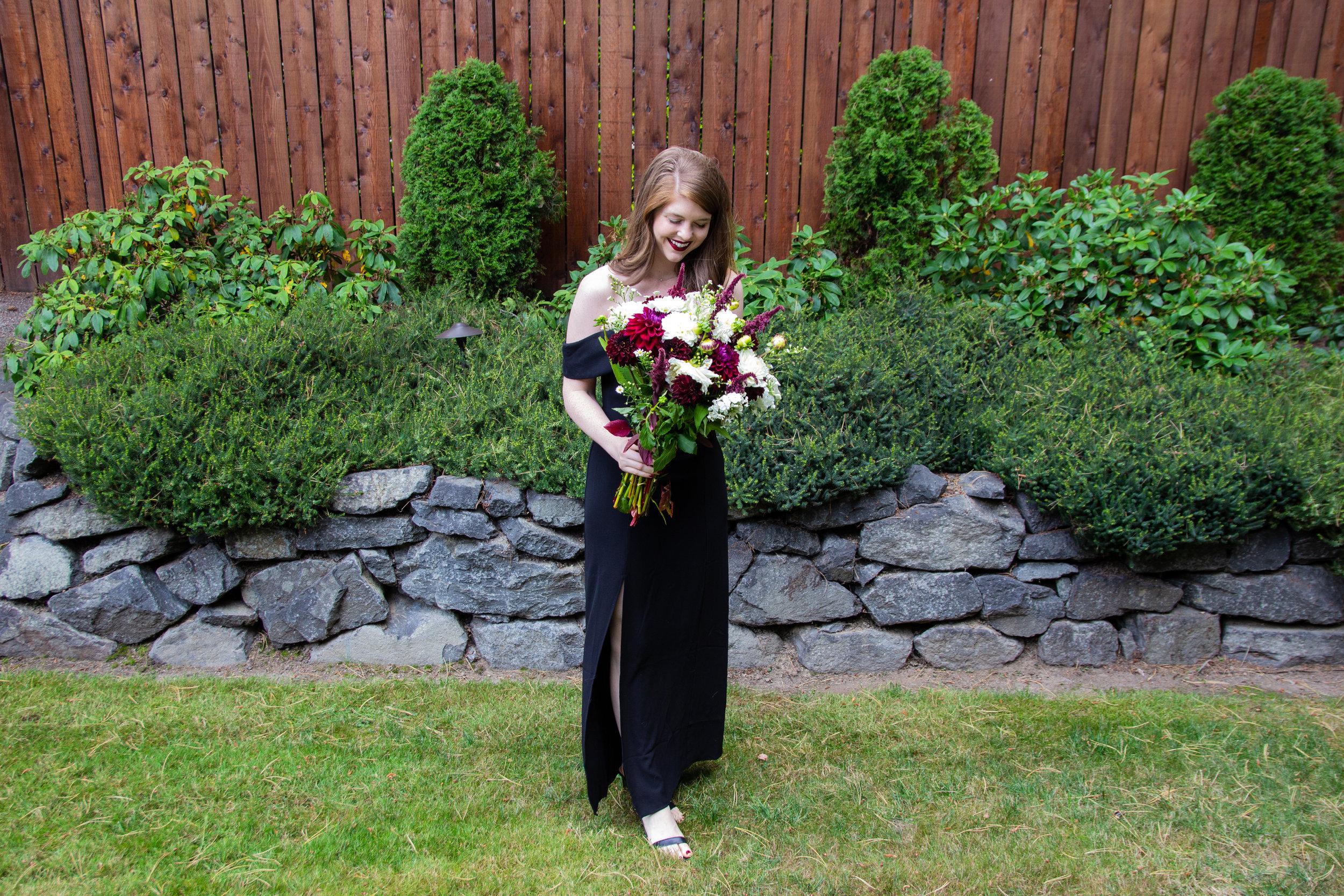 black tie wedding guest dress, upton off the shoulder gown, show me your mumu, pike place market flowers, little black dress