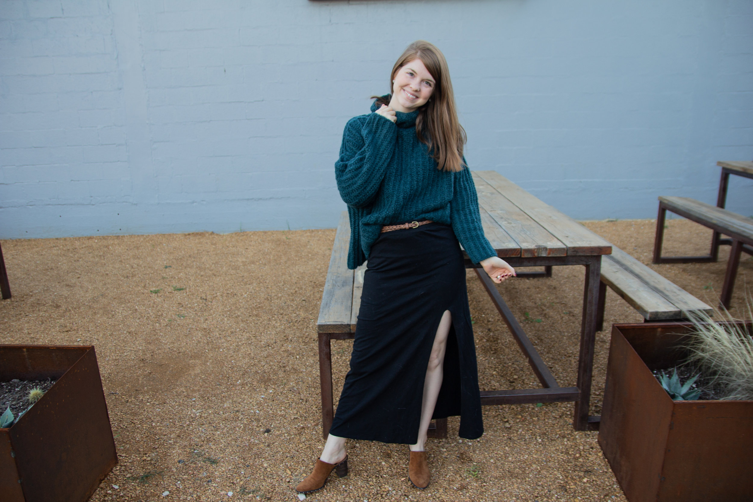 Free People Fluff Fox Sweater | Brown Braided Belt | Rebecca Minkoff Galyn Mules | Black Maxi Skirt, the art of versatility, chunky sweater 3 ways
