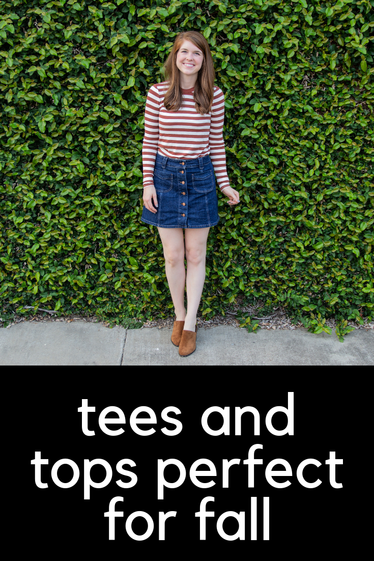 tees and tops perfect for fall, basic t-shirts, best t-shirt brands, seasonal wardrobe,  transition from fall to winter clothing