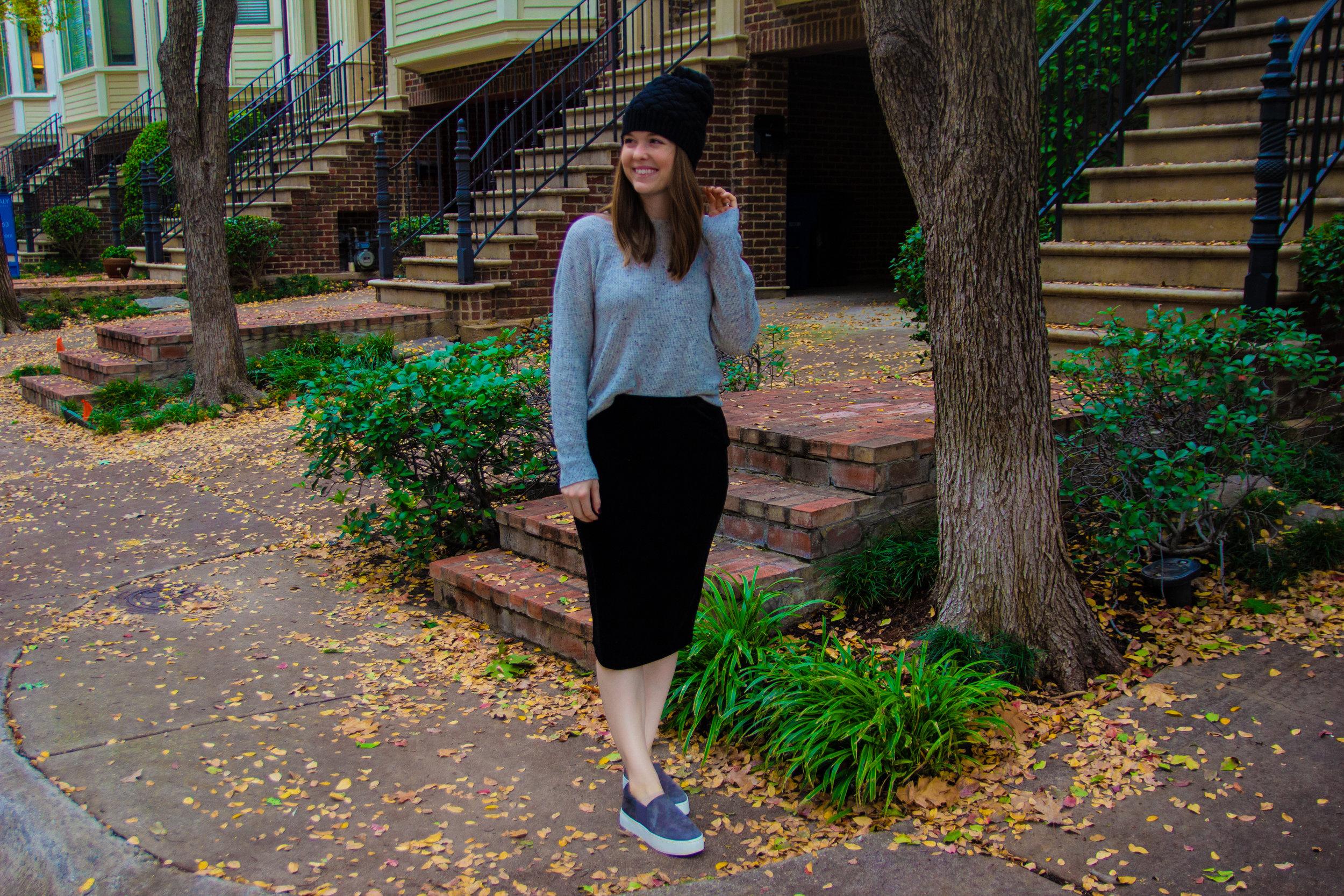 The Art of Versatility: Velvet Skirt 3 Ways, vince camuto velvet skirt, madewell cashmere sweatshirt, vince warren sneakers, j crew factory black faux fur beanie
