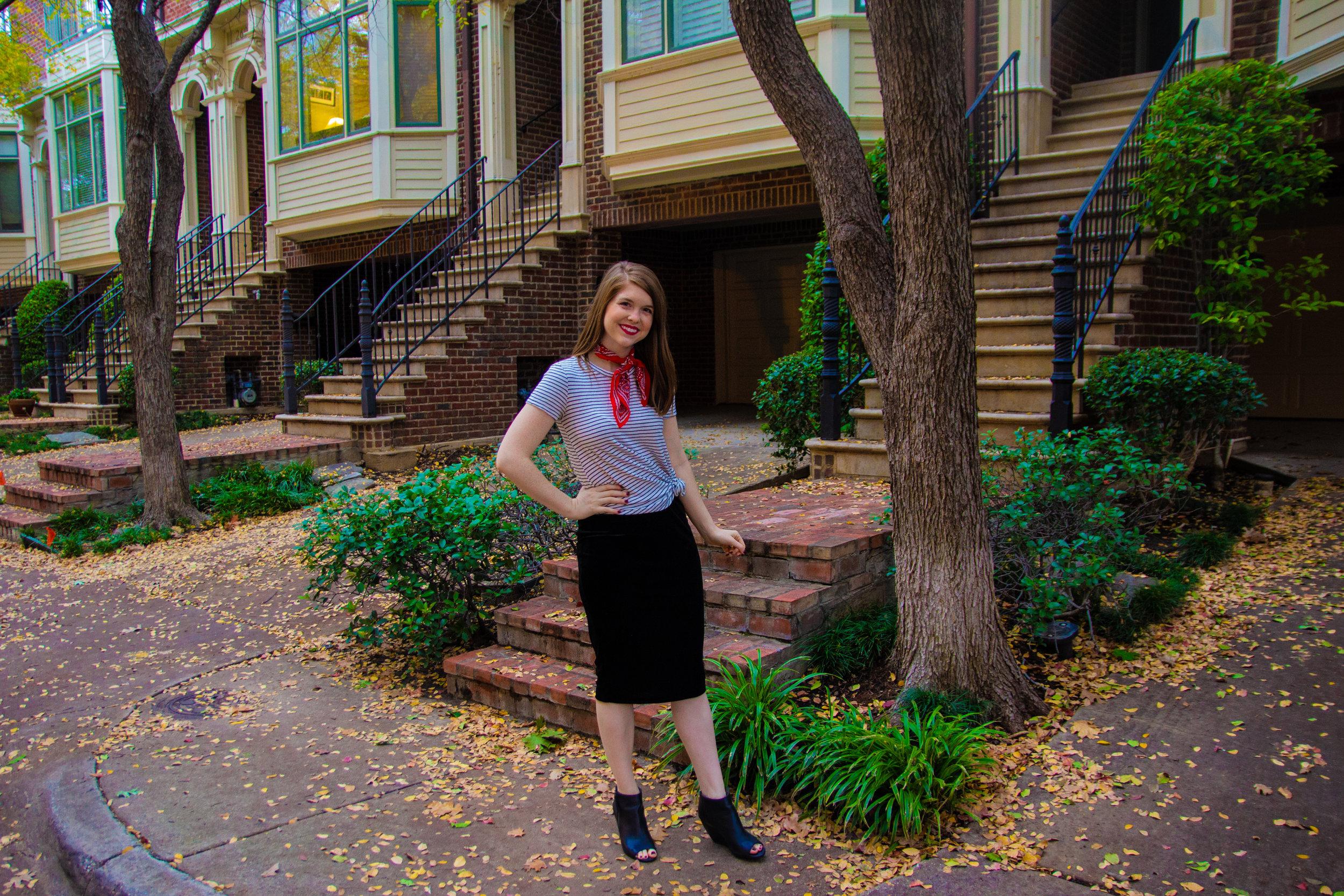 The Art of Versatility: Velvet Skirt 3 Ways, vince camuto velvet skirt, amazon daily ritual tee, madewell silk scarf