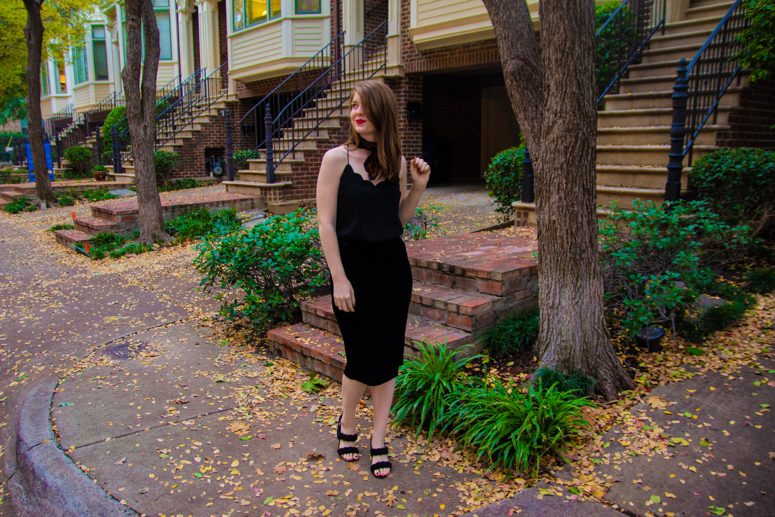The Art of Versatility: Velvet Skirt 3 Ways, vince camuto velvet skirt, j.crew factory scalloped cami, madewell leopard cotton scarf, myx lipstick, rebecca minkoff candace block heel sandal