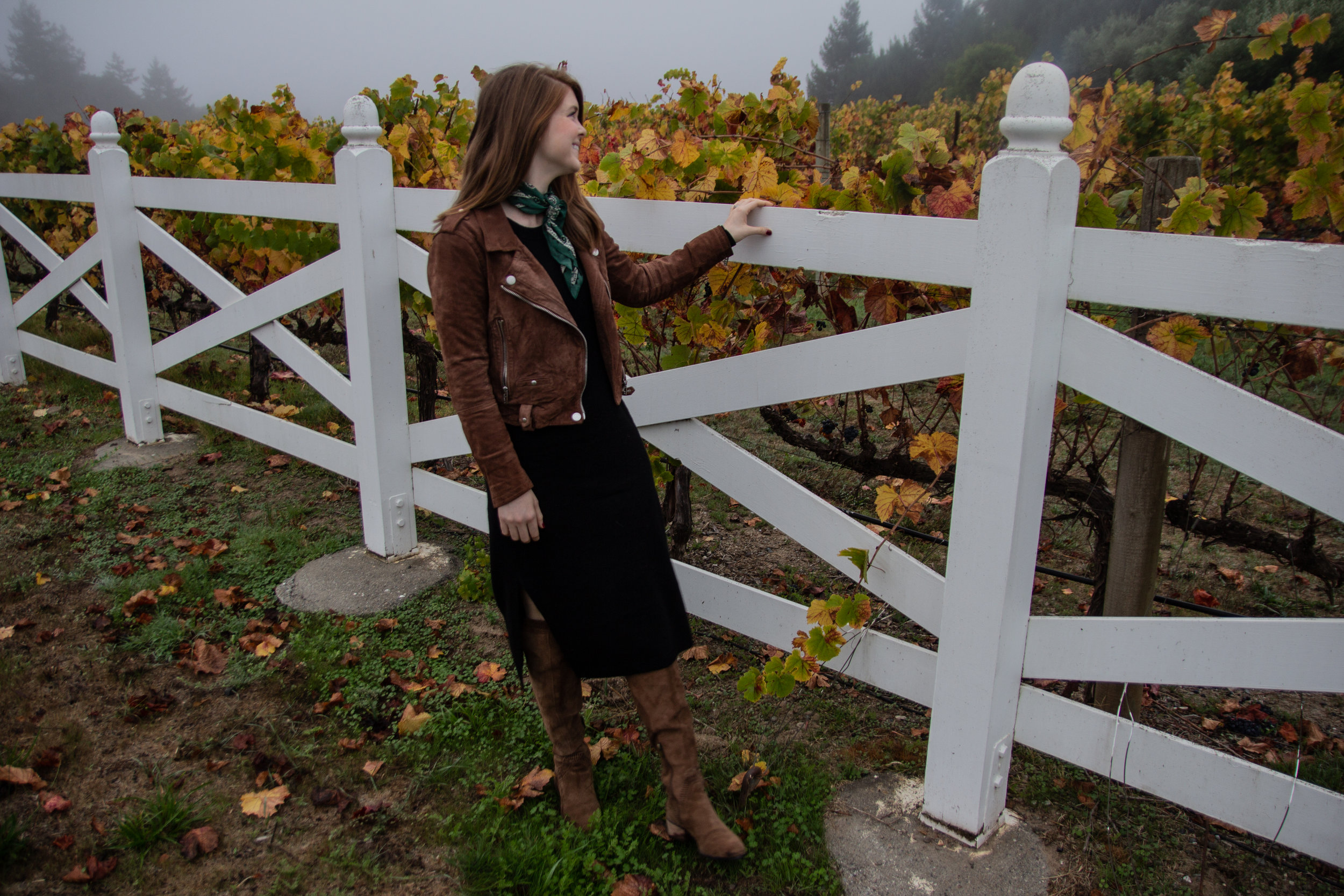 thanksgiving dat outfit idea, what to wear to thanksgiving, black sweater midi dress, madewell silk square bandana scarf, blanknyc suede moto jacket, suede over the knee boots, goldeneye wines, duckhorn, napa valley, sonoma