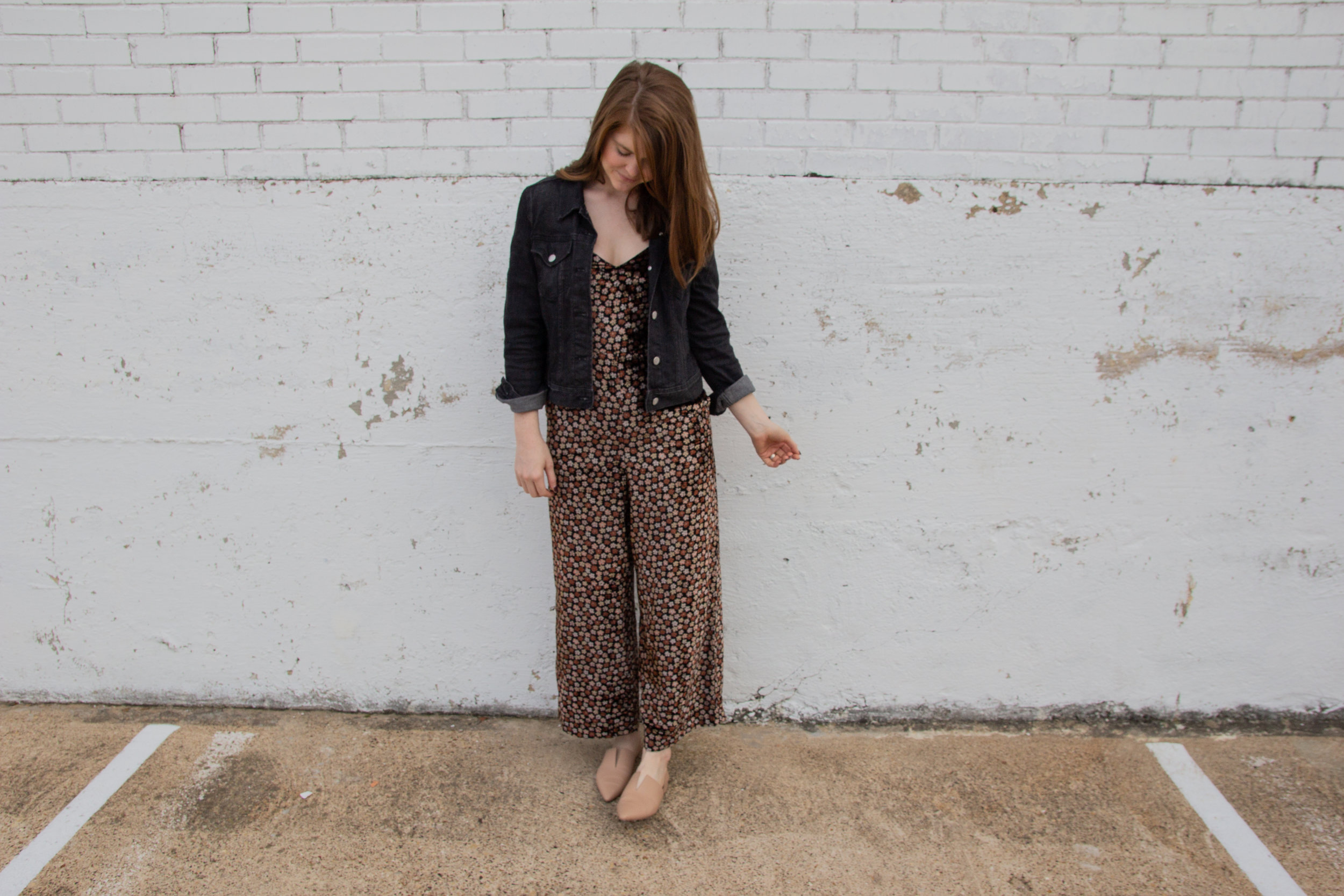 madewell velvet thistle cami jumpsuit, kendra scott diane earrings, the art of versatility velvet jumpsuit 3 ways, holiday party outfit idea, what to wear to a christmas party, black denim jacket, vince darlington flats