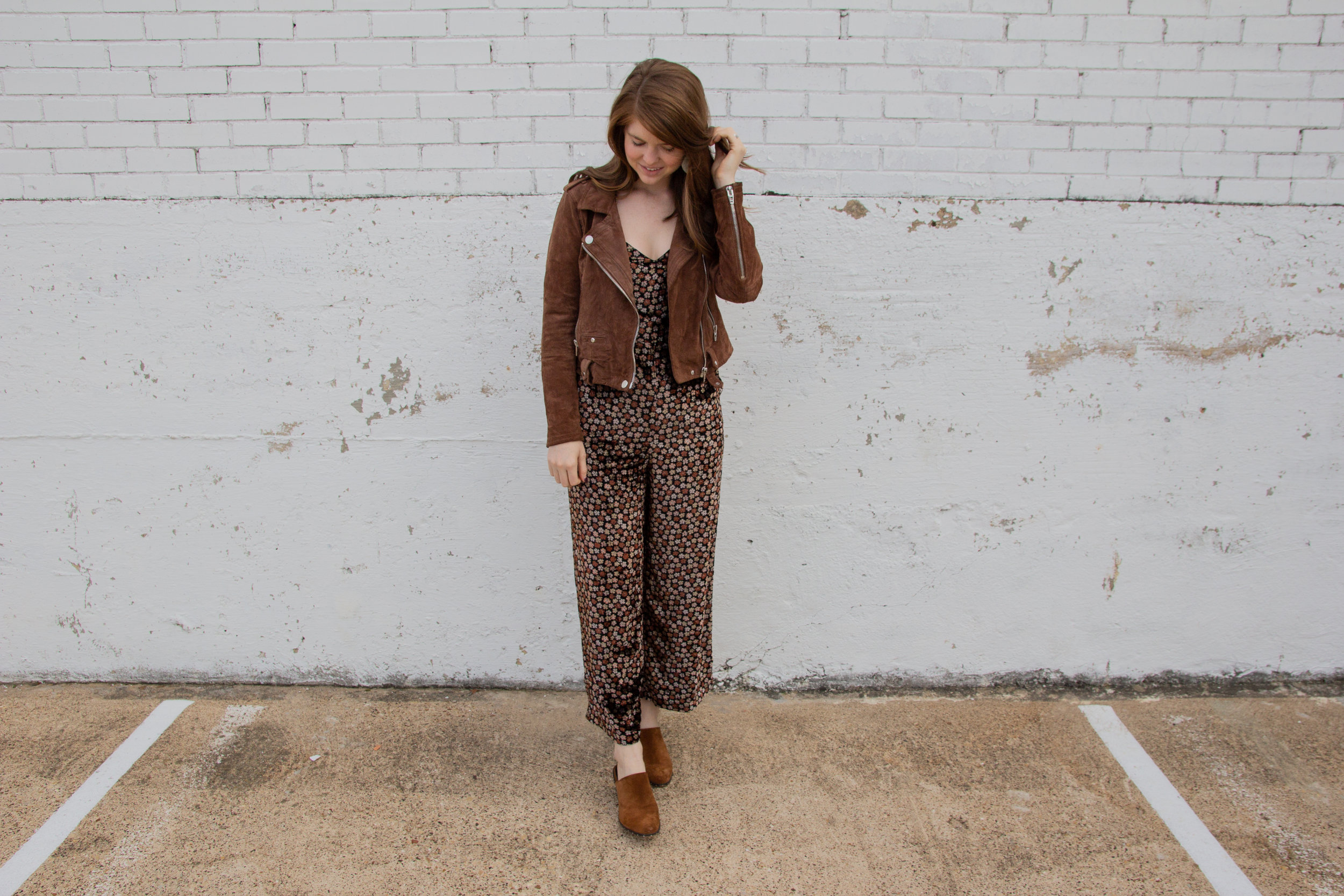 madewell velvet thistle cami jumpsuit, kendra scott diane earrings, the art of versatility velvet jumpsuit 3 ways, holiday party outfit idea, what to wear to a christmas party, blanknyc suede moto jacket, rebecca minkoff galyn suede mules