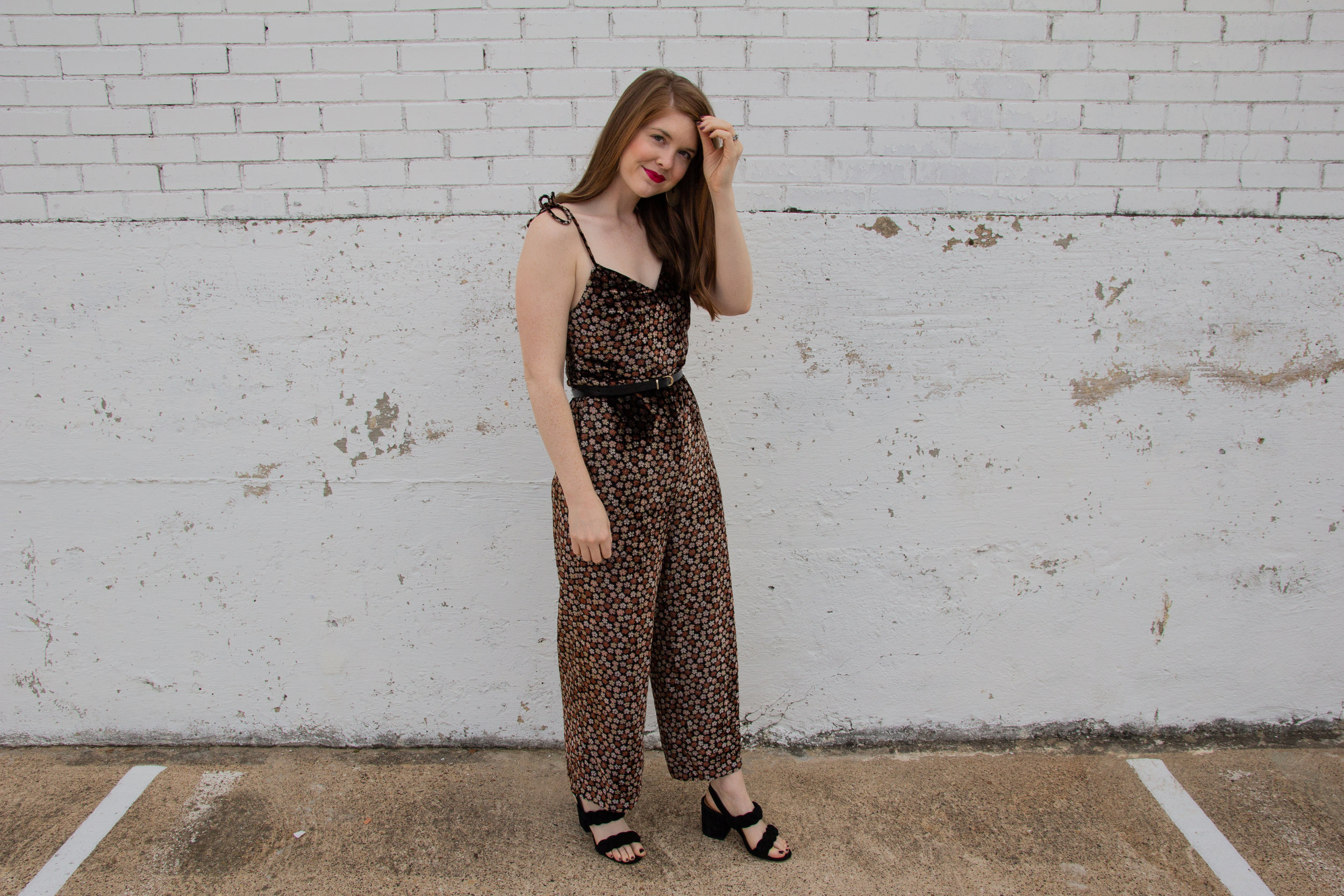 madewell velvet thistle cami jumpsuit, kendra scott diane earrings, the art of versatility velvet jumpsuit 3 ways, holiday party outfit idea, what to wear to a christmas party, rebecca minkoff candance sandals, natural red lipstick