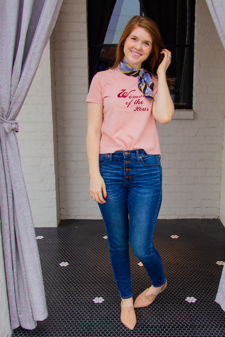 living coral, pantone color of the year 2019, women of the hour madewell tee, madewell button front jeans, vince darlington flat