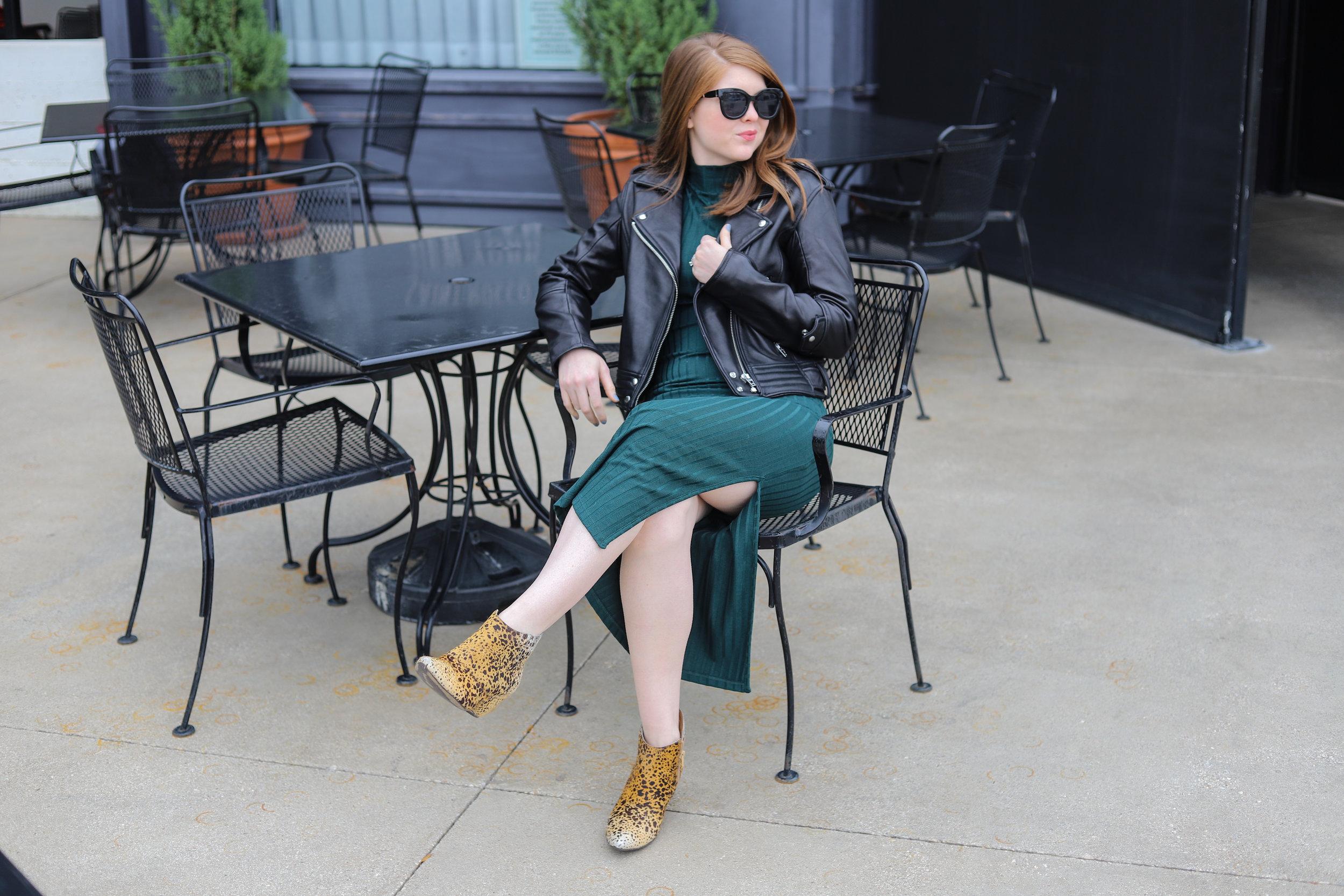 black leather jacket, real leather jacket, blanknyc, moto jacket, topshop sweater midi dress, leopard booties, oversized blacks sunglasses, ilia lipstick rosette