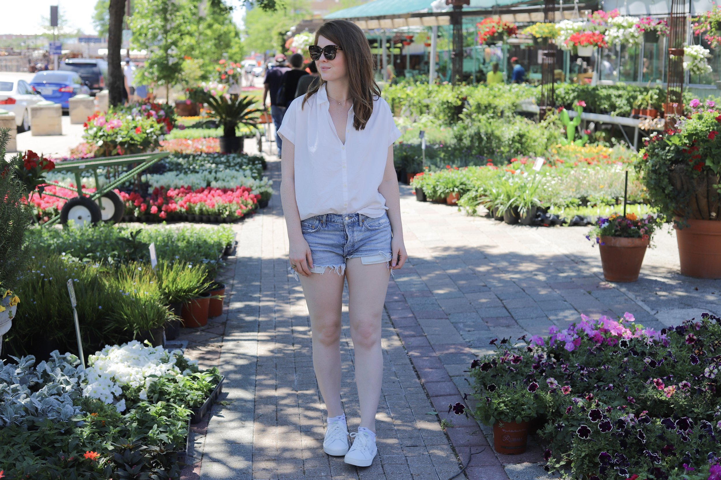agolde shorts, madewell central shirt, cariuma catiba low leather white sneakers, ruibals, plants of texas, where to get plants in dallas, white tennis shoes