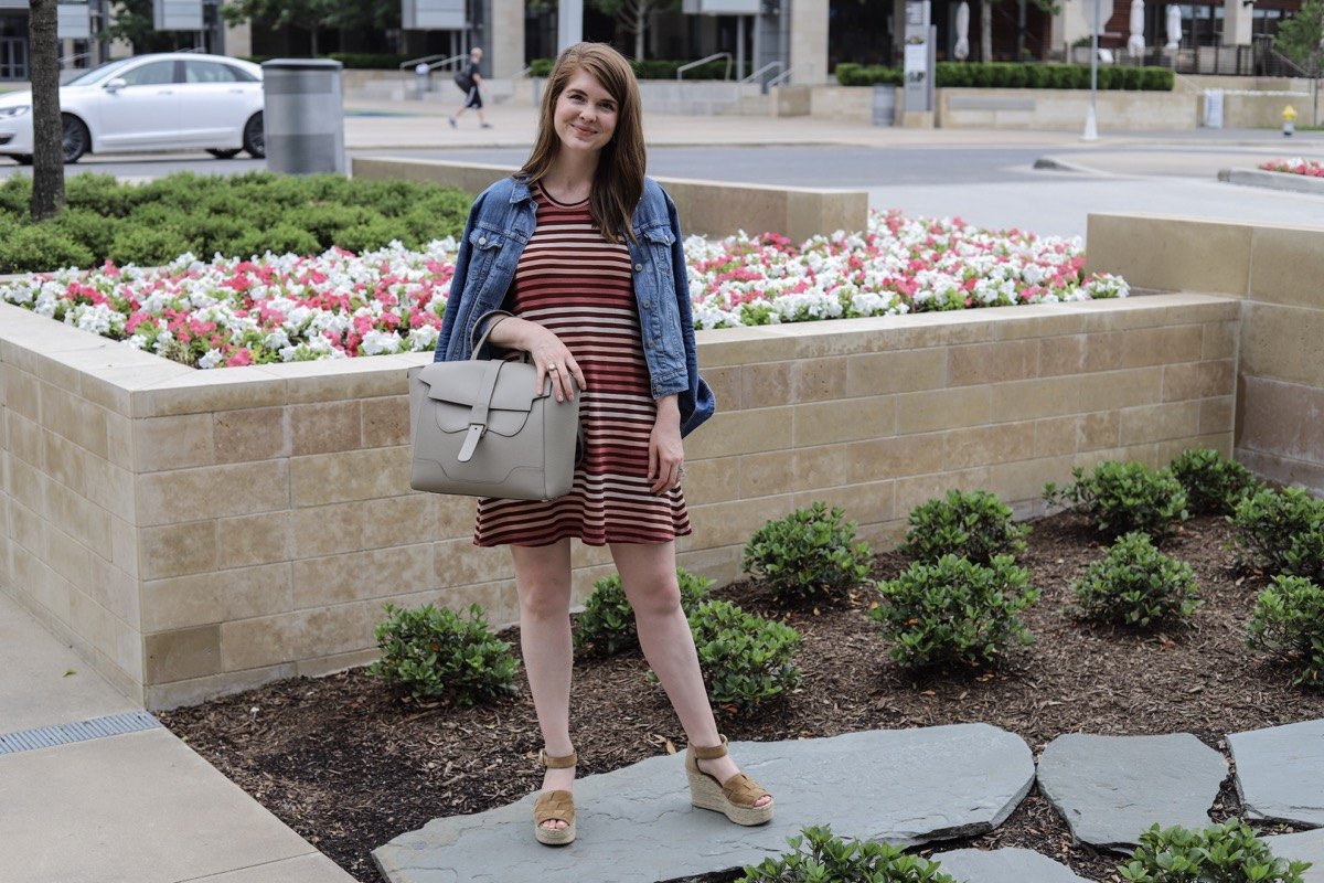 Is the Senreve Maestra Bag Worth the Investment?, senreve review, large luxury handbag, worth the money, versatile handbag, levi's denim jacket, madewell highpoint tank dress, kendra scott paxton hoop earrings, marc fisher adalla wedges