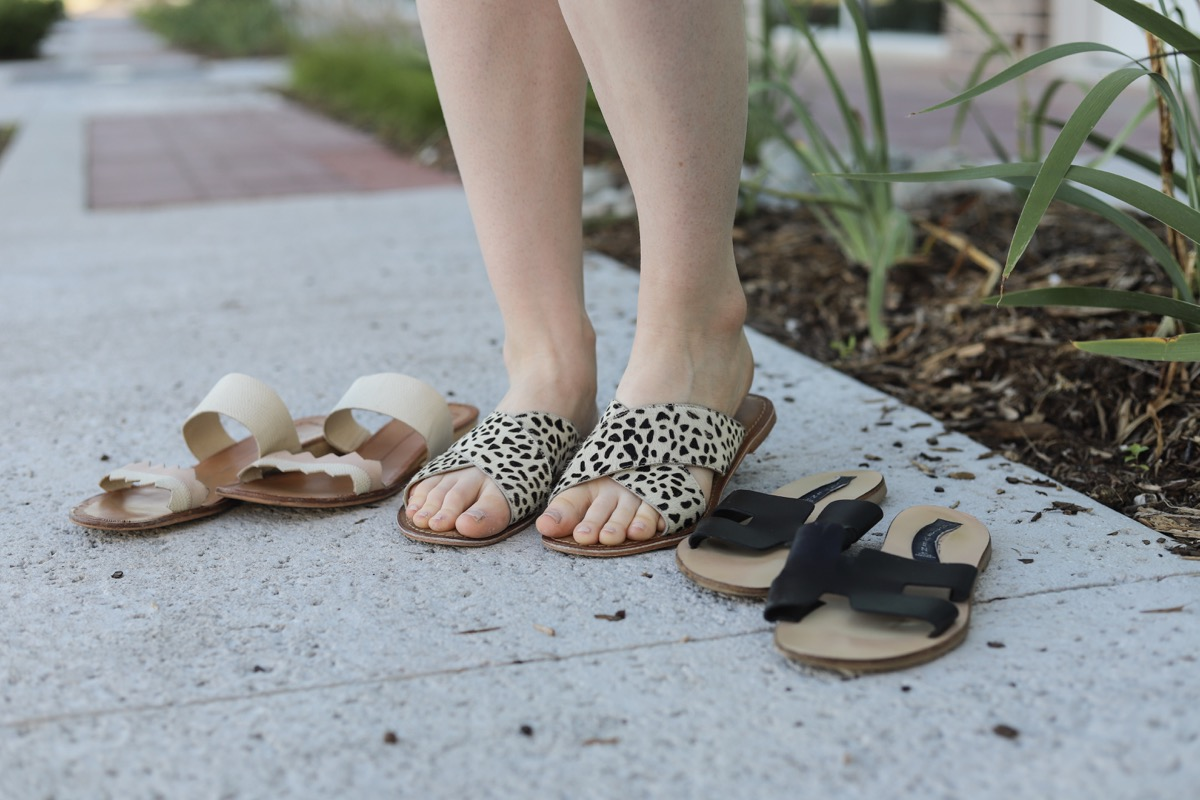 flat sandals for summer, dolce vita, steven greece slides, leopard sandals, lments of style, ellemulenos, sandals under $100