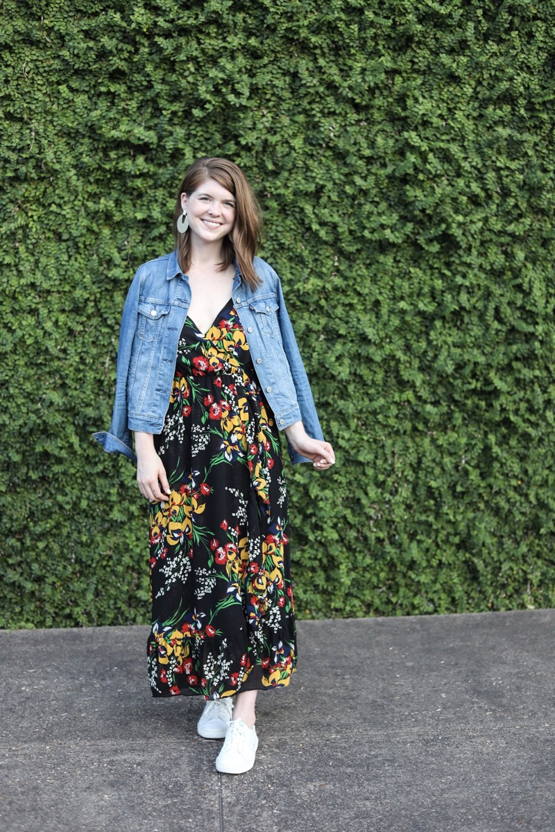madewell ruffle-Strap Wrap Dress in Orchid Bouquet, the art of versatility black floral maxi dress, lments of style,  how to style a maxi dress, how to wear a maxi dress , versatile