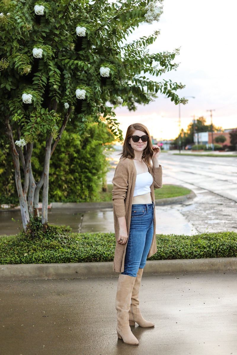 nordstrom anniversary sale 2019, best of shoes, vince camuto, nestel knee high boot, madewell cardigan, madewell perfect vintage jeans, suede boots