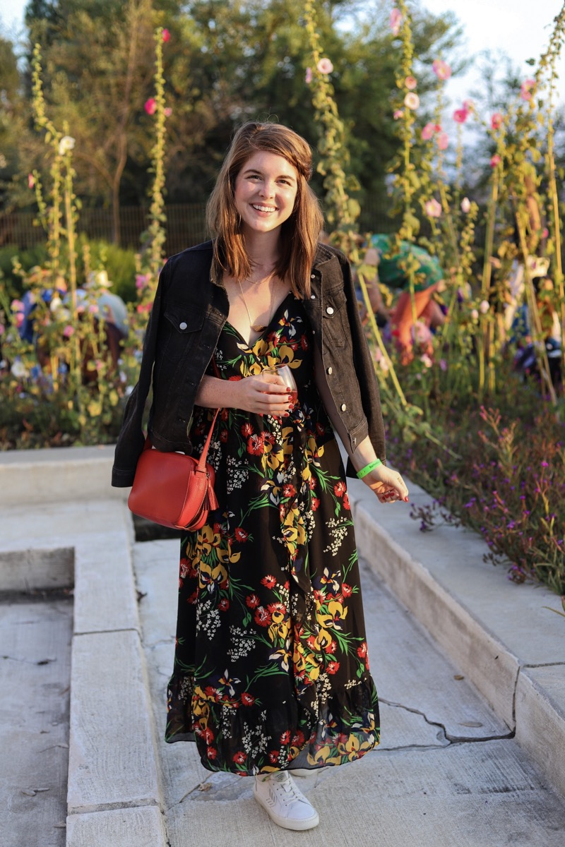 madewell ruffle-strap wrap dress in orchid bouquet, black denim jacket, cariuma sneakers, cuyana mini tassel bag, styling your floral maxi dress for fall, barnsdall art park, summer fridays, wine, hollywood, los angeles style, ellemulenos, lments of style