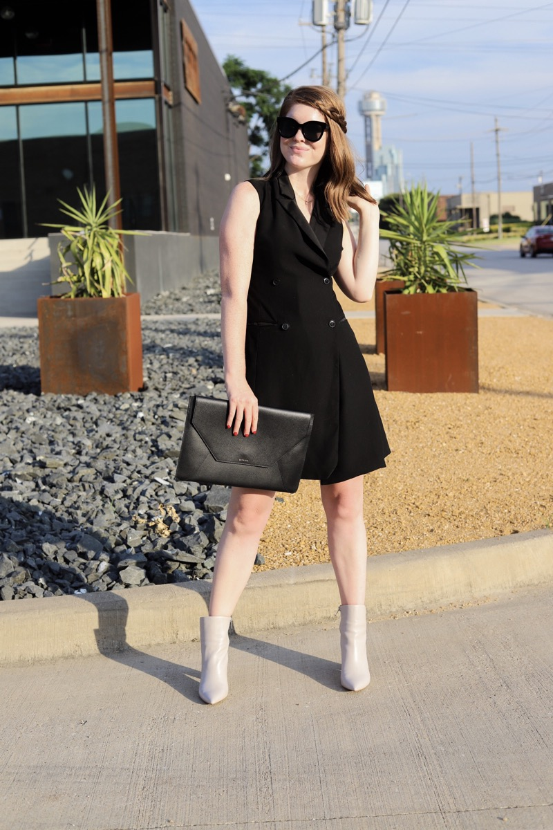the art of versatility, ankle boots styled 3 ways, marc fisher ankle booties, how to wear ankle boots, how to style heeled ankle boots, unique bootie, pointy toe ulani boot, lments of style, ellemulenos, senreve envelope clutch