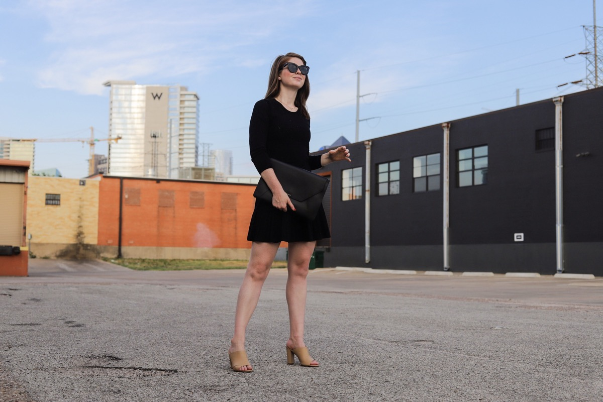 shoes for work, nude is the new black, vince heath sandals, black dress, dallas blogger, lments of style, ellemulenos, nude shoes for work, block heel sandals