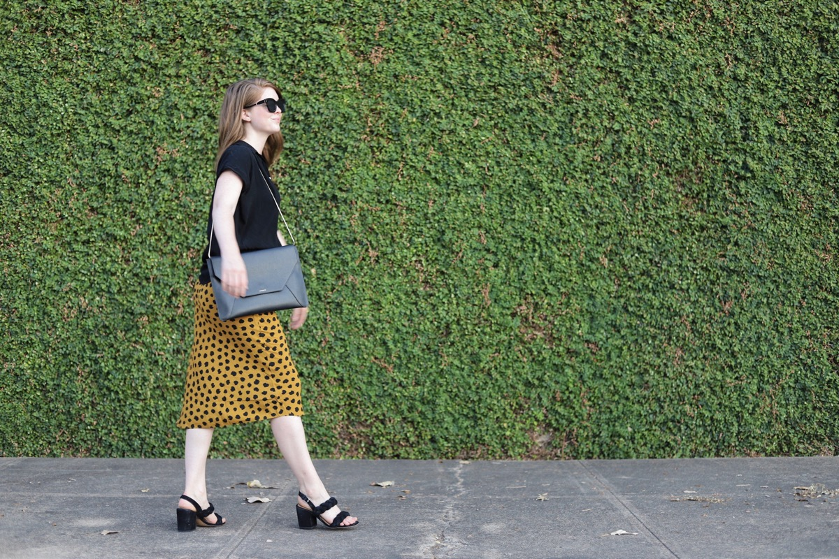 what to wear to an interview, how to dress for an interview, interview clothes tips, leopard midi skirt, cheetah, madewell painted spots skirt, lments of style, ellemulenos, women in the workplace, witw