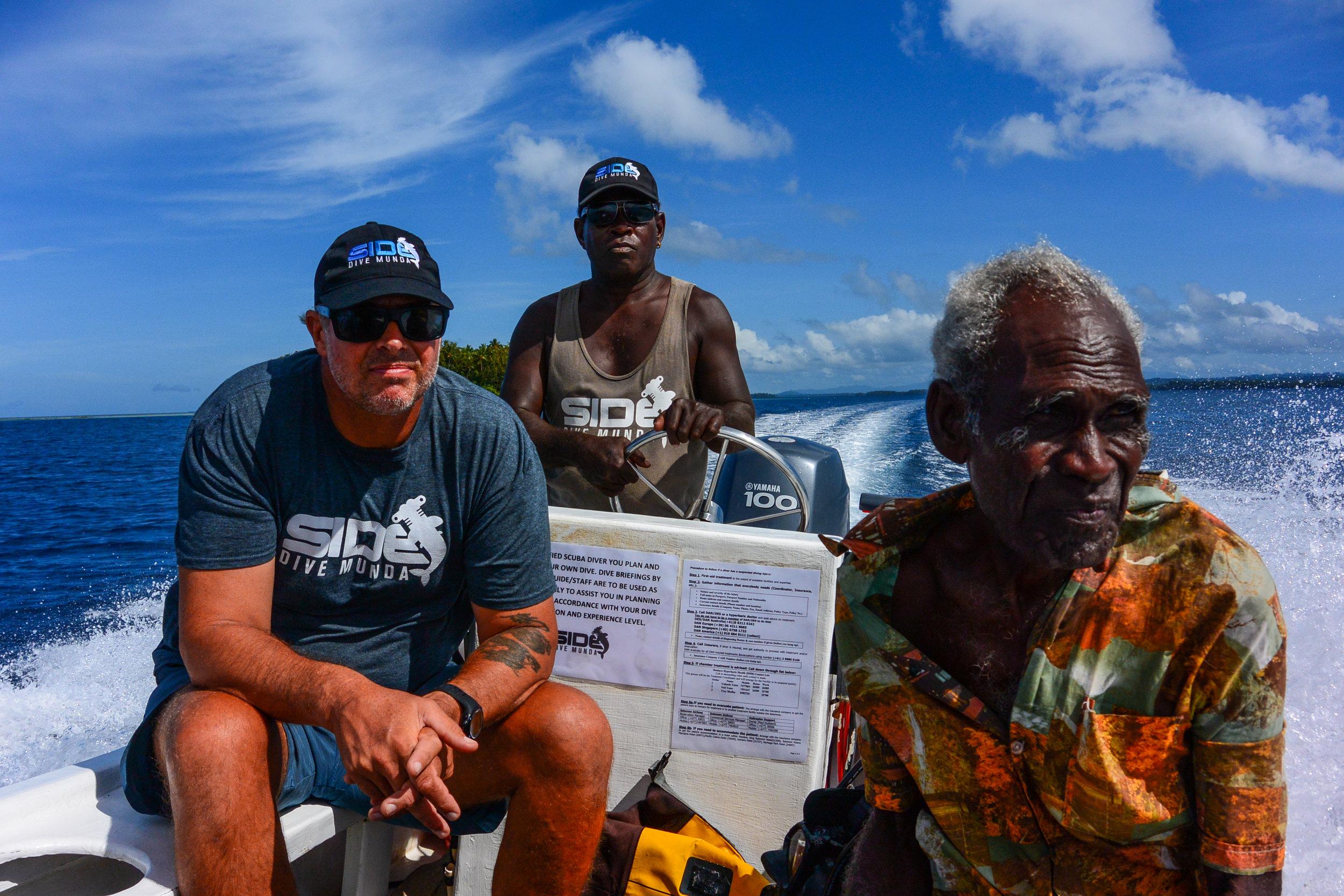 Freedivers exploring with Dive Munda team and WWII legend Alekana.