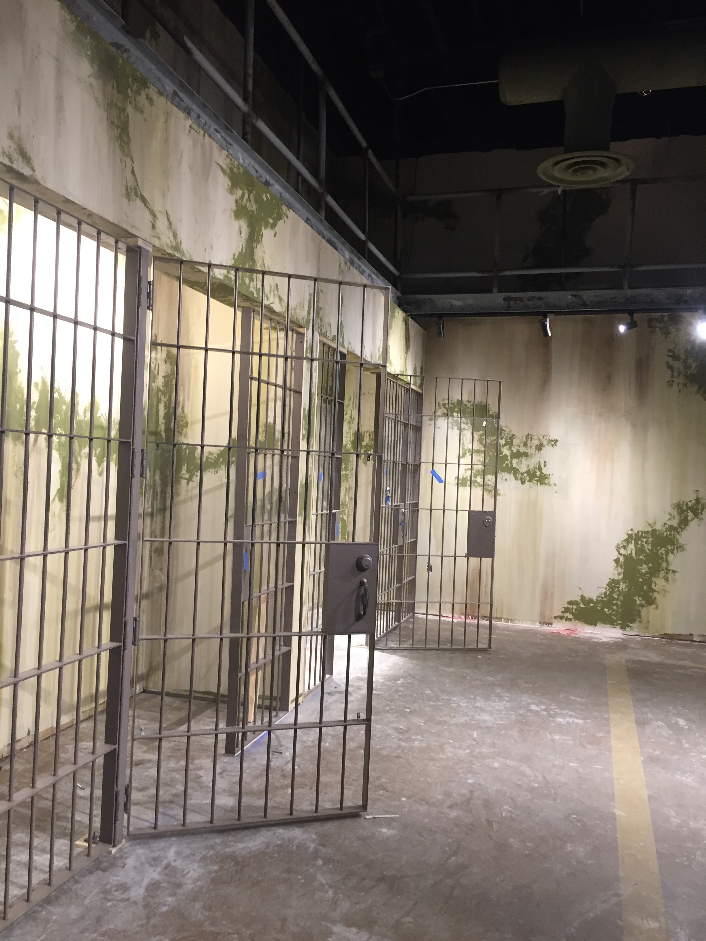 Alcatraz East prison cells in progress.