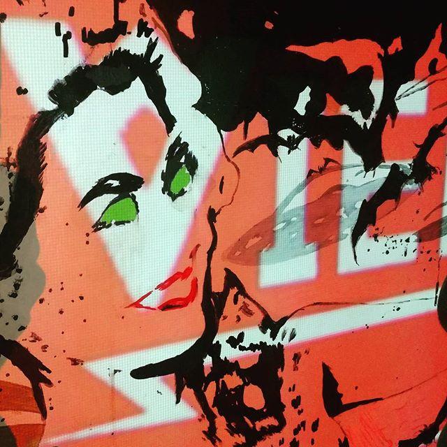 Tonight @jimmyssaloon @leikoband @#newportrhodeisland #iwannaburrito #weed #chaosrules #computers #projector #mural #multimedia #magnifyingglass #doubleimage #gogo #girls #bats #checkerboard #infinity